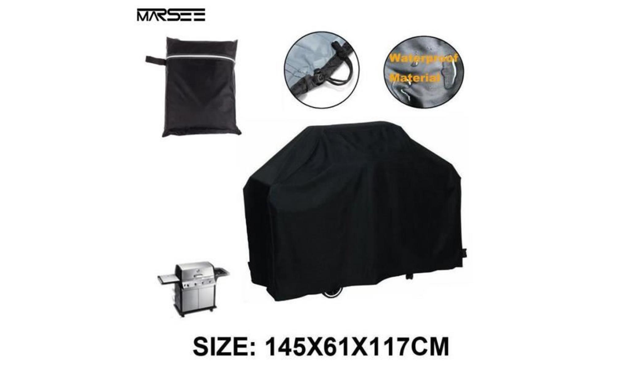 145x61x117cm noir bbq étanche couverture pluie extérieur barbecue grill protecteur pour le gaz au charbon électrique barbecue grill