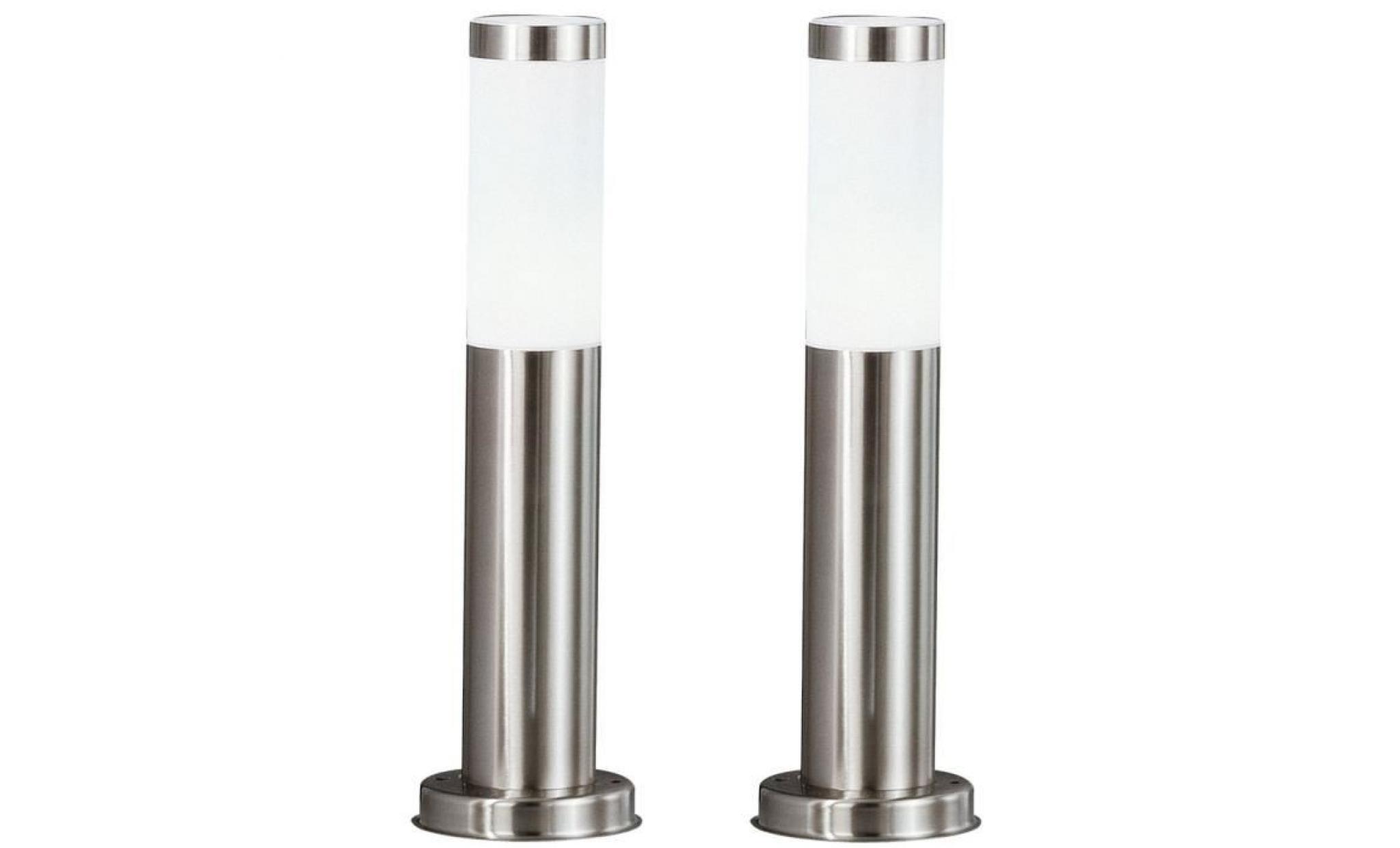 2 X Lampadaire Del Luminaire Sur Pied Espace Exterieur Jardin Terrasse Acier Inoxydable Lampes Led