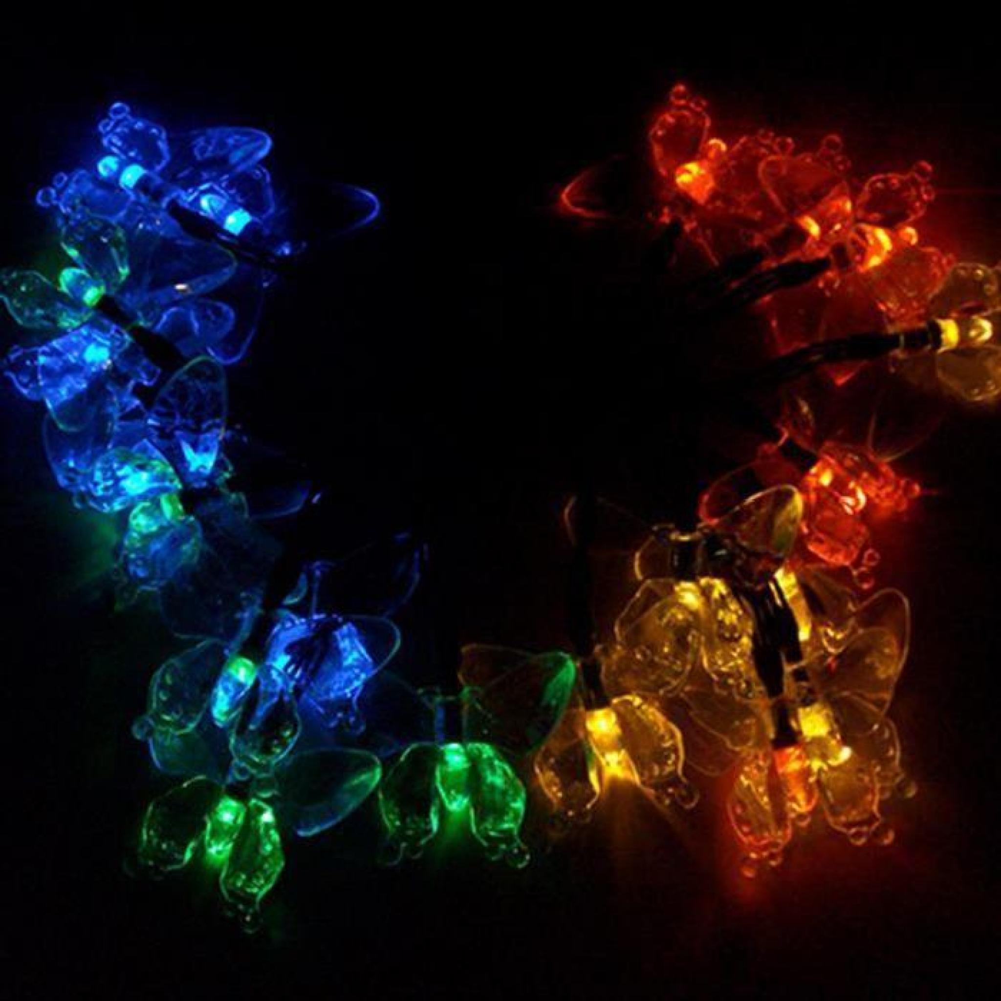 20 LED Lampe Energie Solaire Papillon Décoration Jardin Mariage Noël