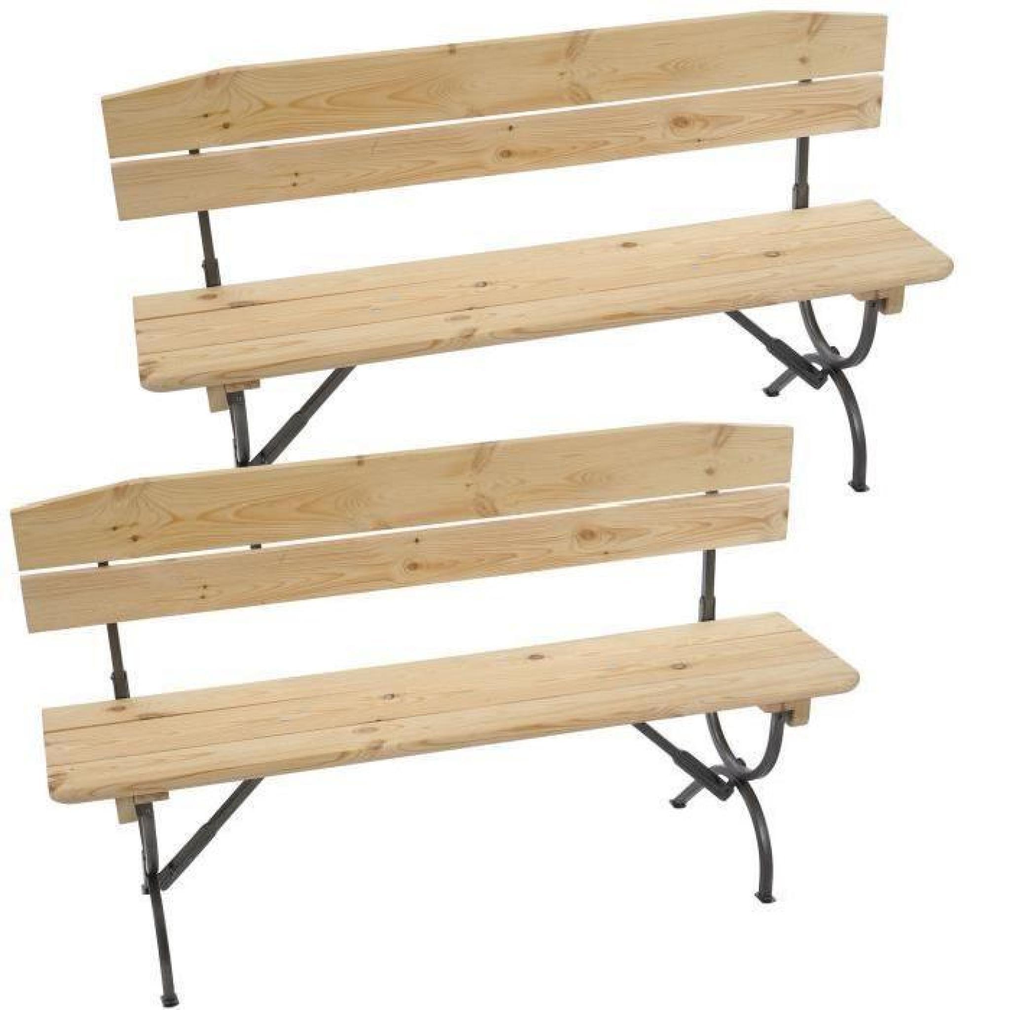 2x banc de jardin ou de brasserie linz av dossier for Banc de jardin en bois pas cher