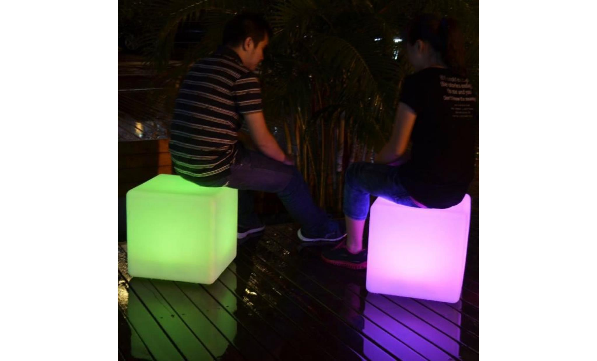 40cm Cube Lumineux Led Extérieur Tabouret Table Jardin Lampe De Sol Rechargeable Rgb Ip67 Télécommande De Pk Green