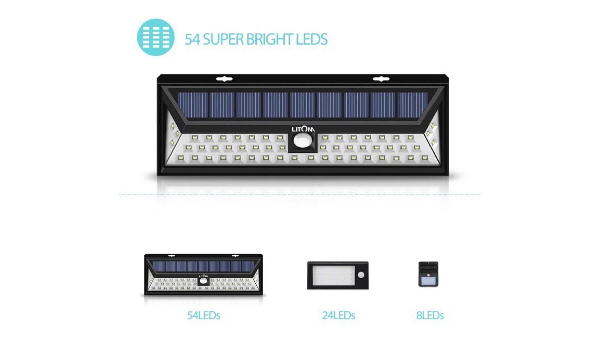eclairage led solaire 54 LED Solaire détecteur de mouvement etanche ,du0027extérieur à énergie solaire  de sécurité