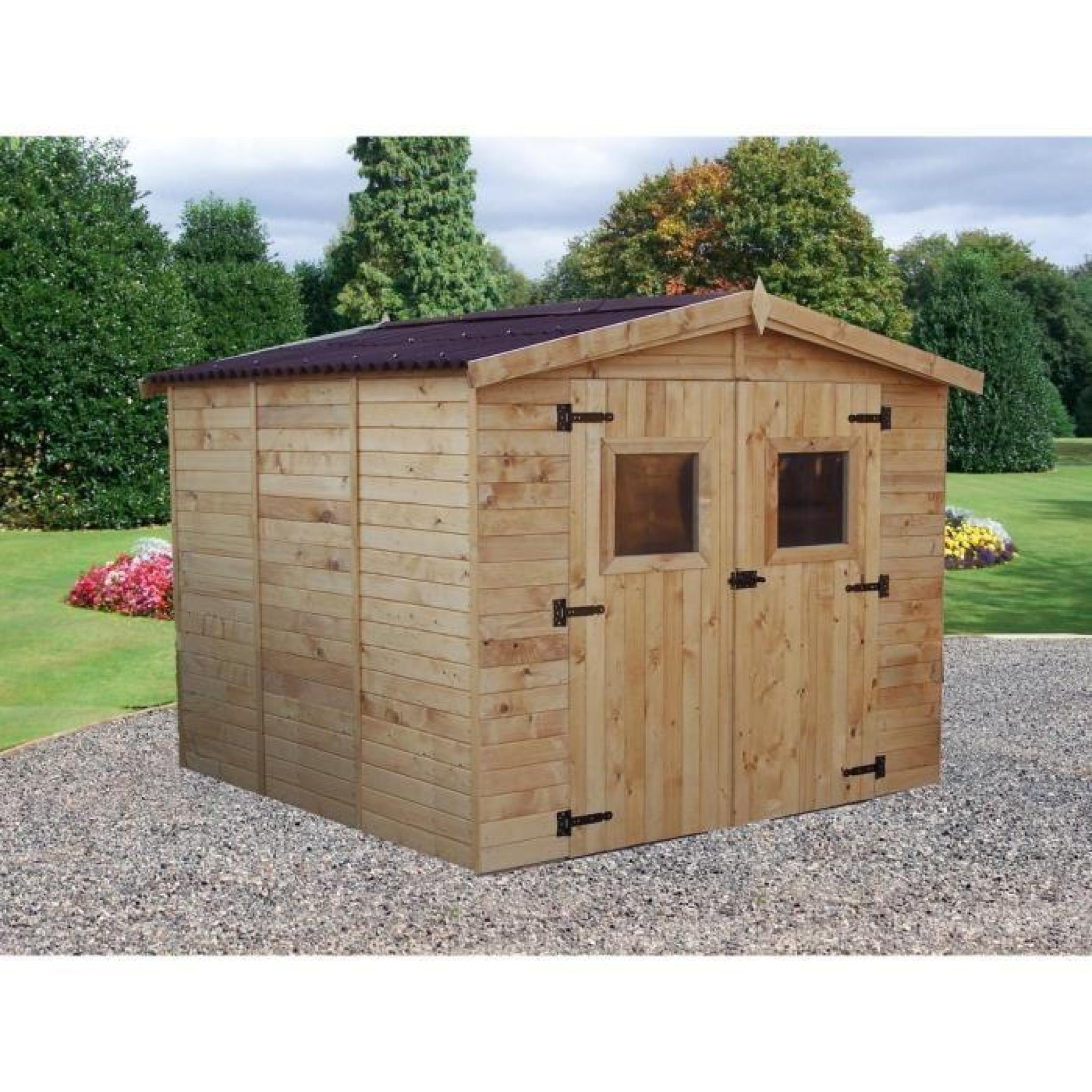 Abri de jardin 7 20m en bois toiture en plaques - Rouleau bitume toiture abri de jardin ...