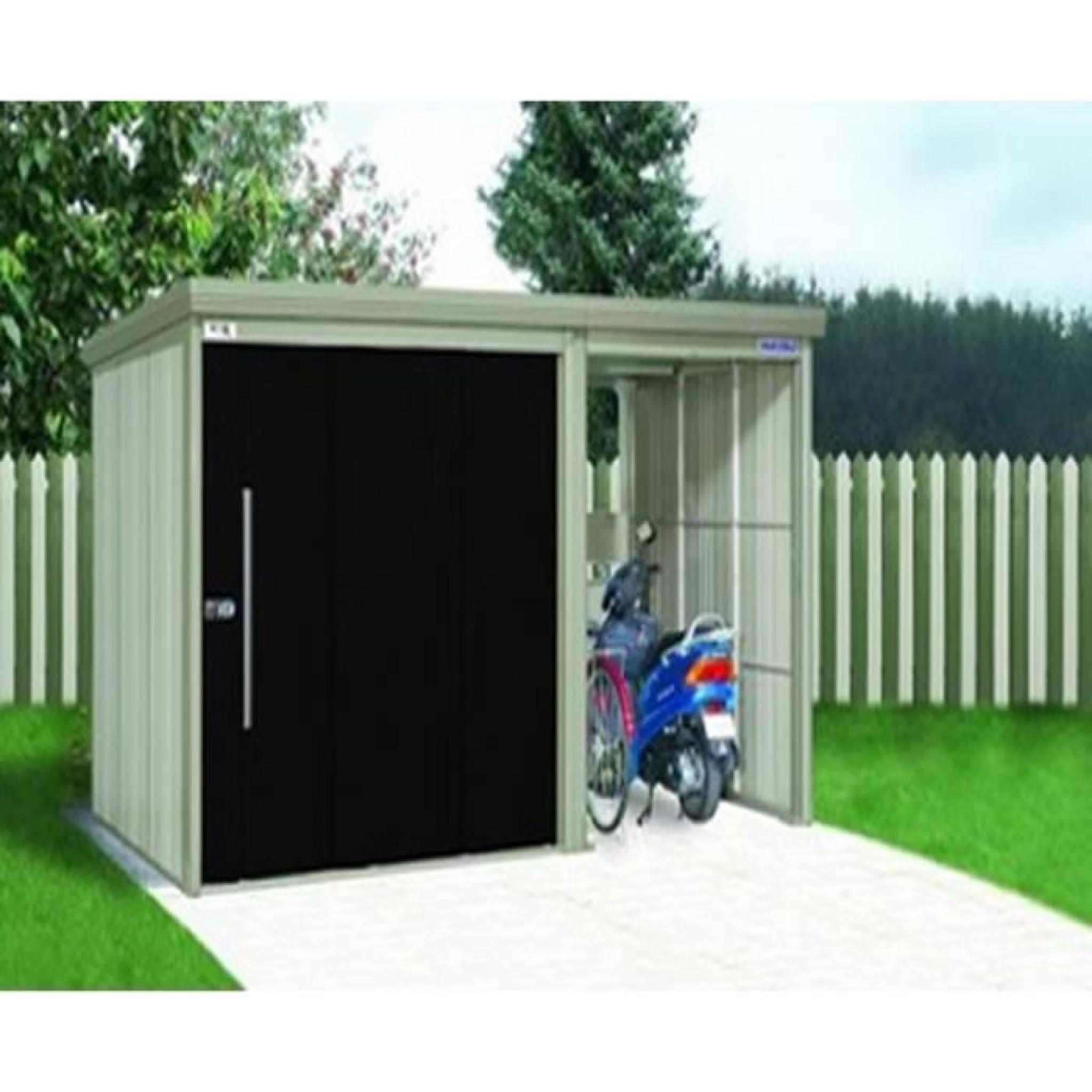 Abri de jardin en acier galvanis avec portes noires 382 for Abri de jardin acier