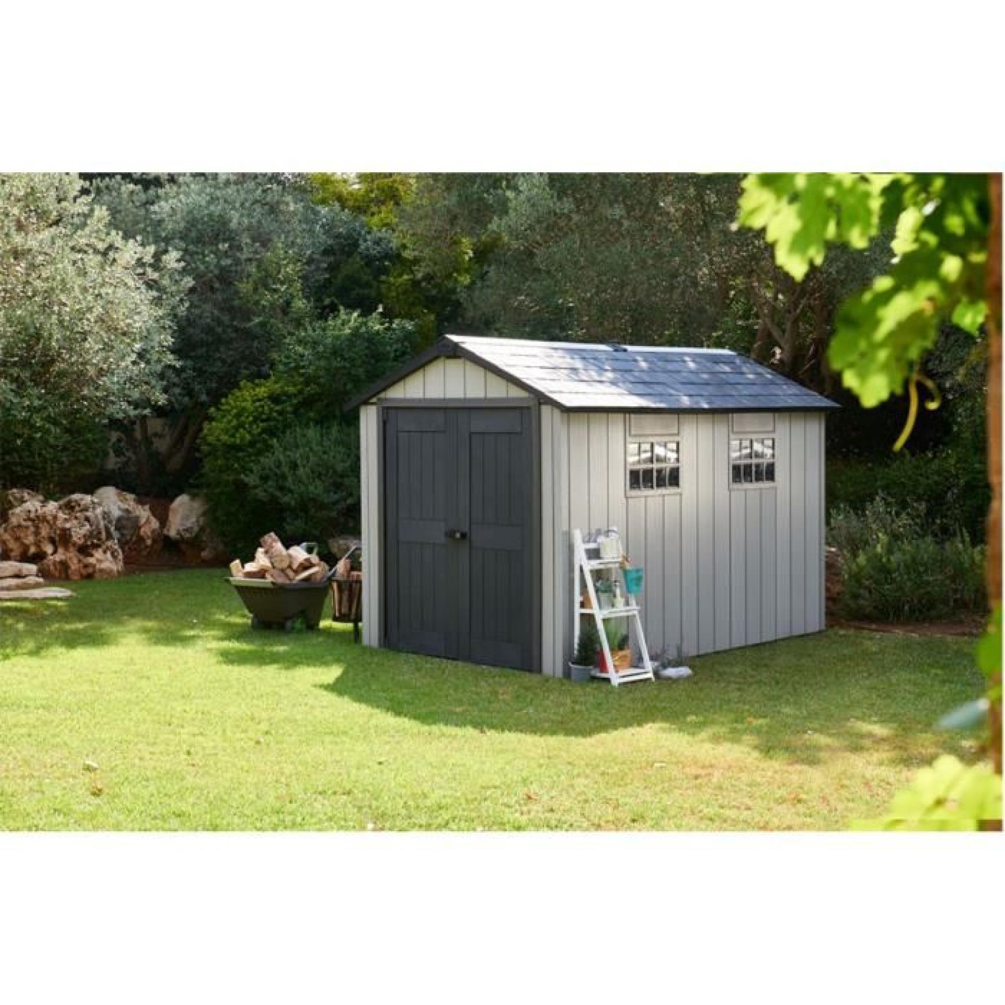Abri de jardin en r sine coloris gris bross 229 x 223 5 - Abri jardin resine pas cher ...