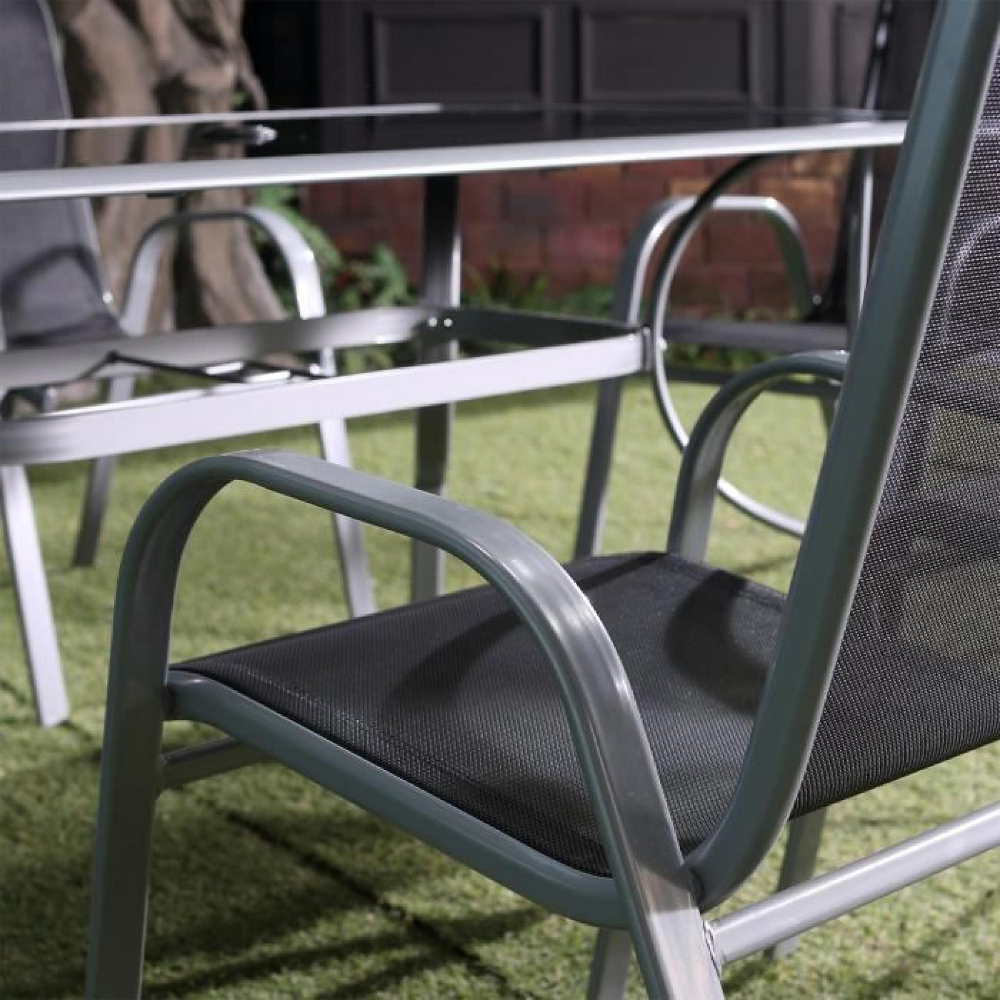 Alassio 6 : Ensemble table + 6 chaises en aluminium et textilène ...