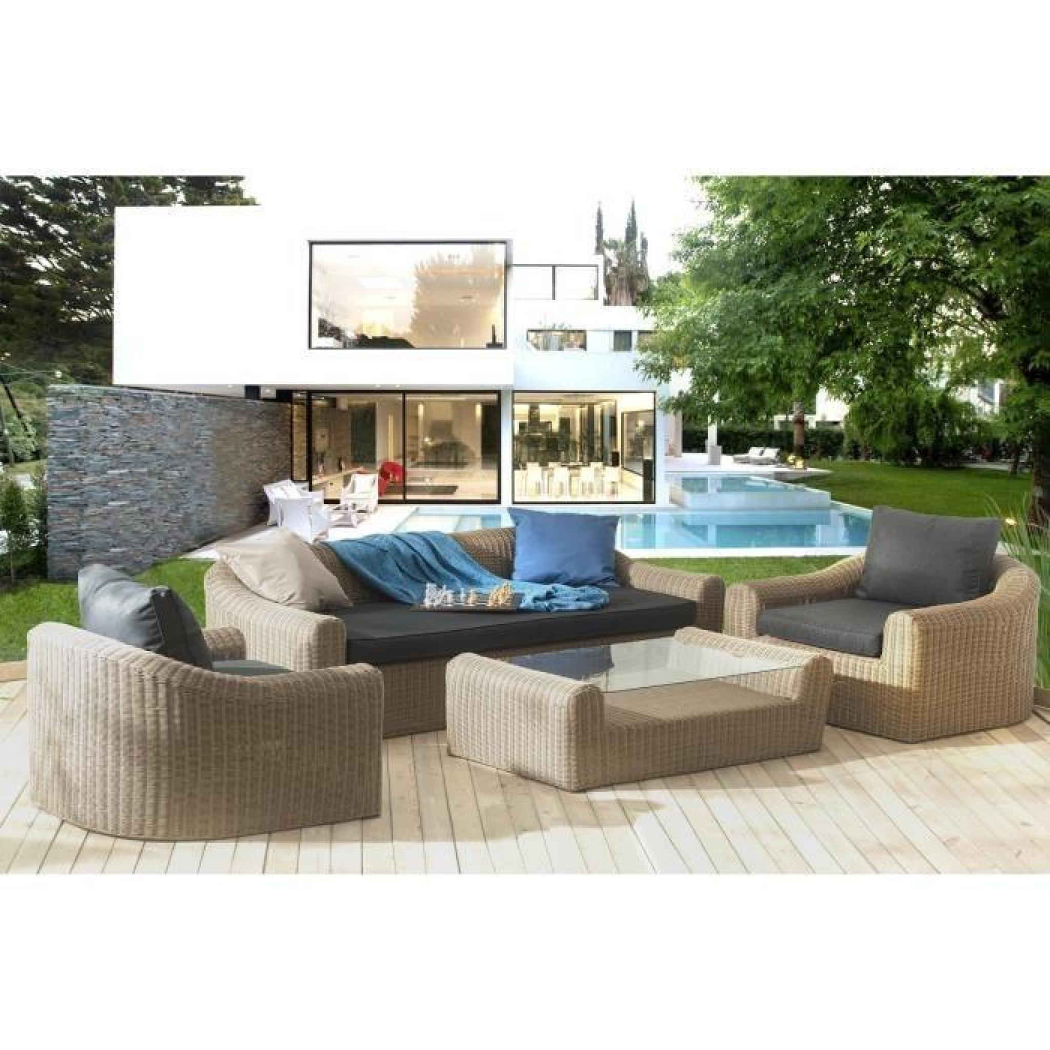 ANGELES Salon de jardin 5 places en résine tressée et aluminium - Beige et  marron