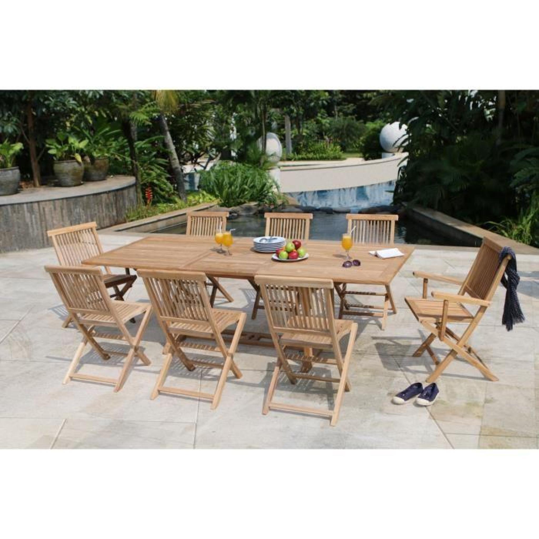 ARTIGUES Ensemble de jardin en bois teck massif 6 places - Table ...