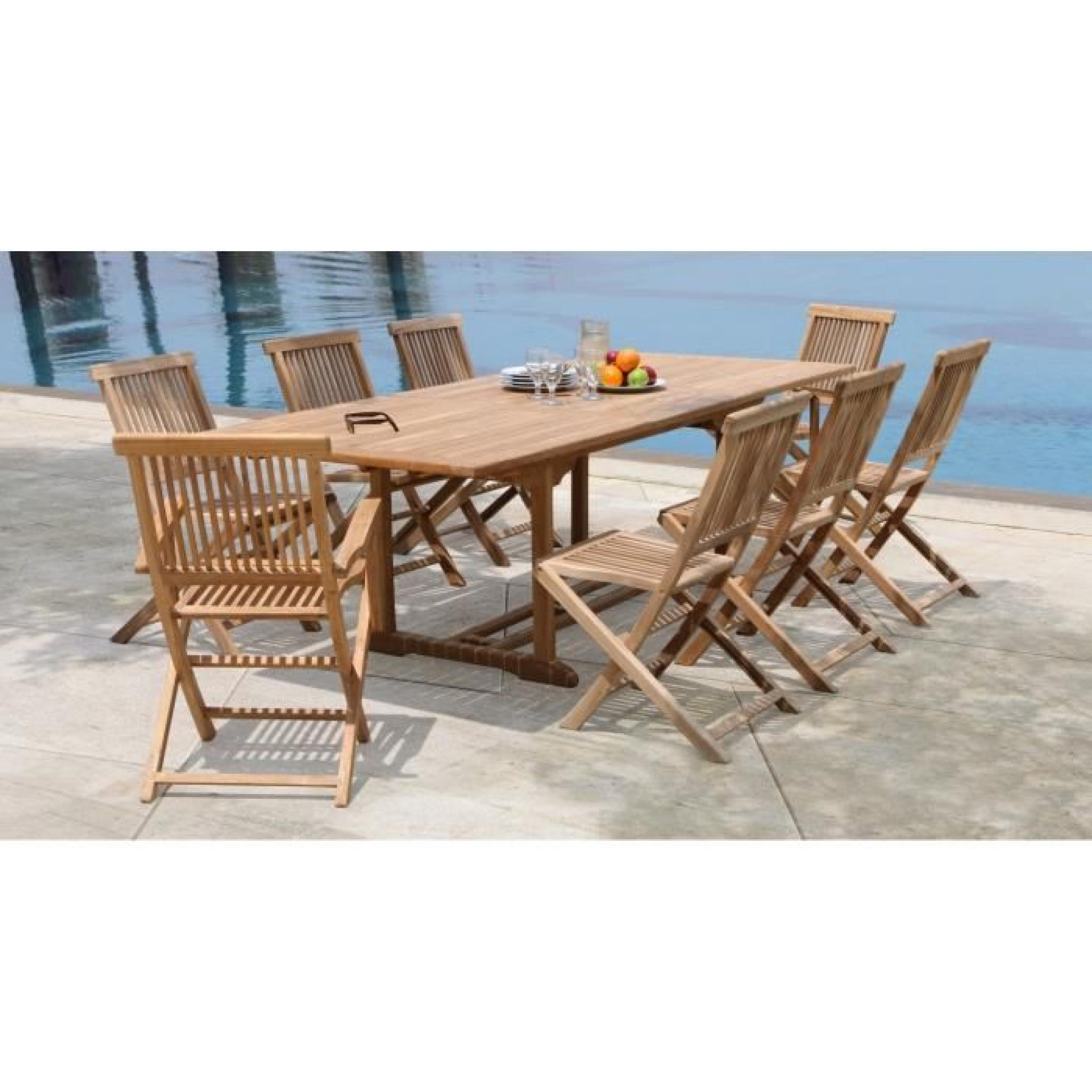 ARTIGUES Ensemble de jardin en bois teck massif 6 places - Table extensible  - Marron