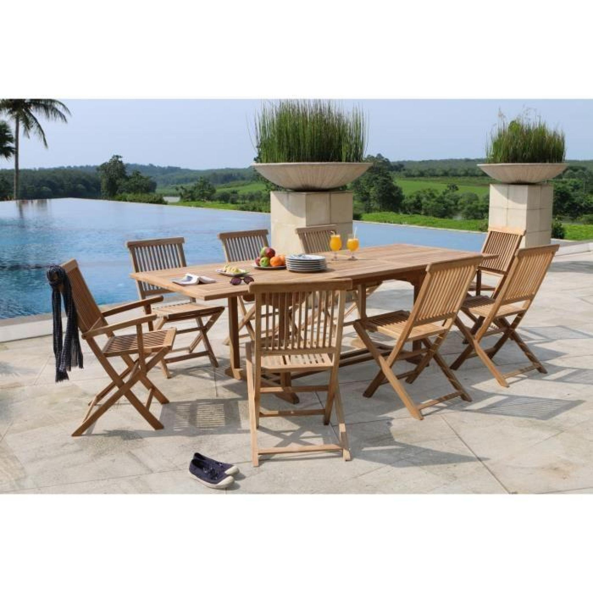 ARTIGUES Ensemble de jardin en bois teck massif 6 places - Table ...