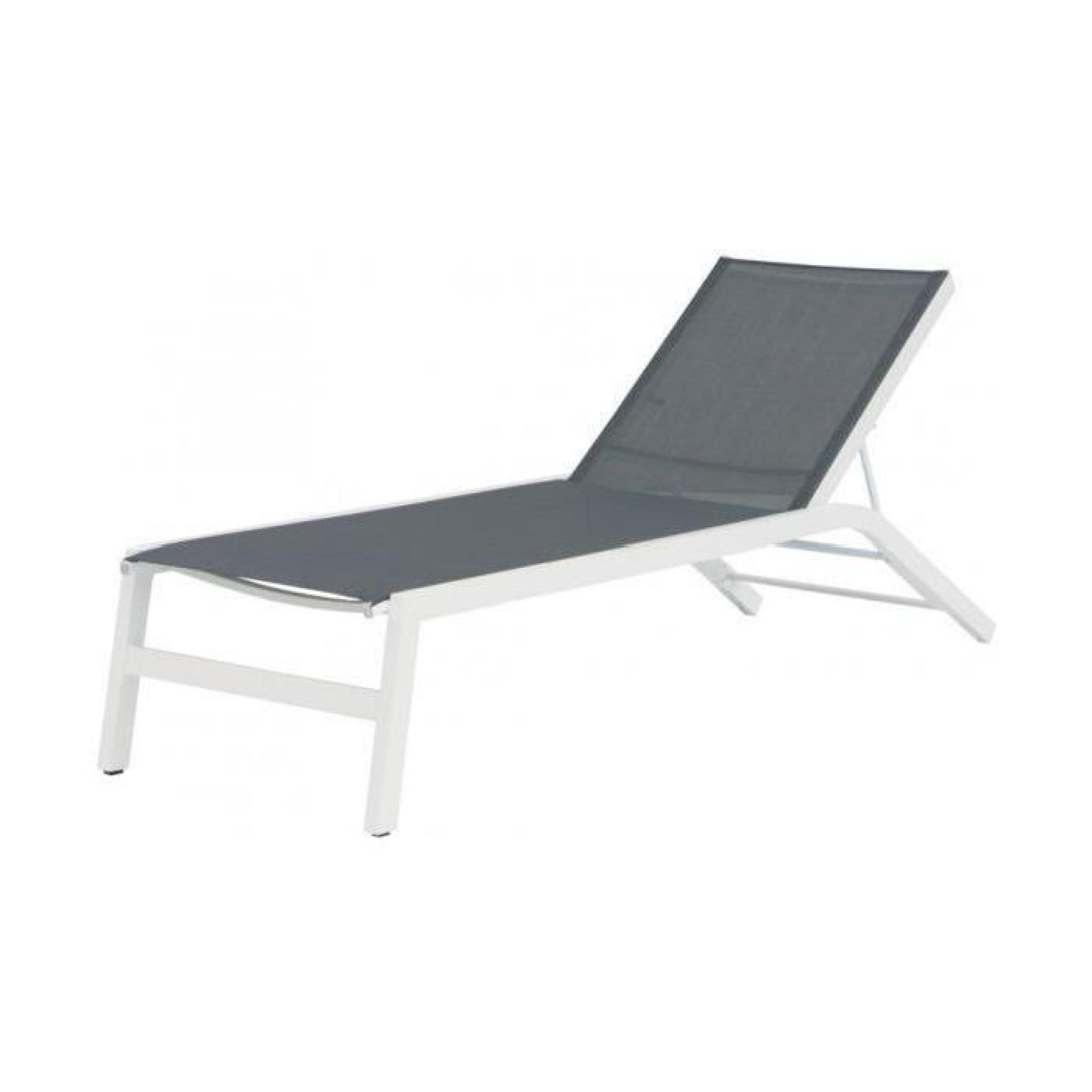 bain de soleil aluminium blanc avec textil ne gris achat. Black Bedroom Furniture Sets. Home Design Ideas