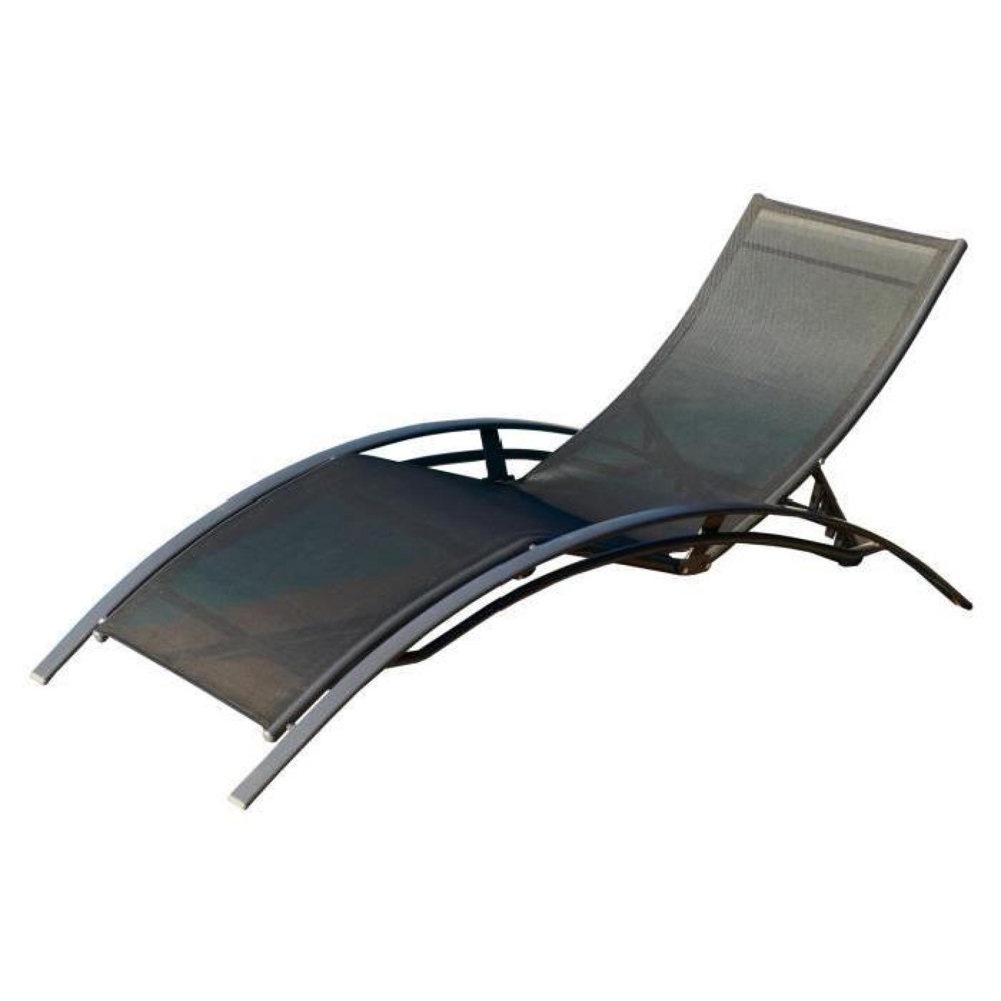 Chaise longue aluminium textilène noir - Achat/Vente transat de ...