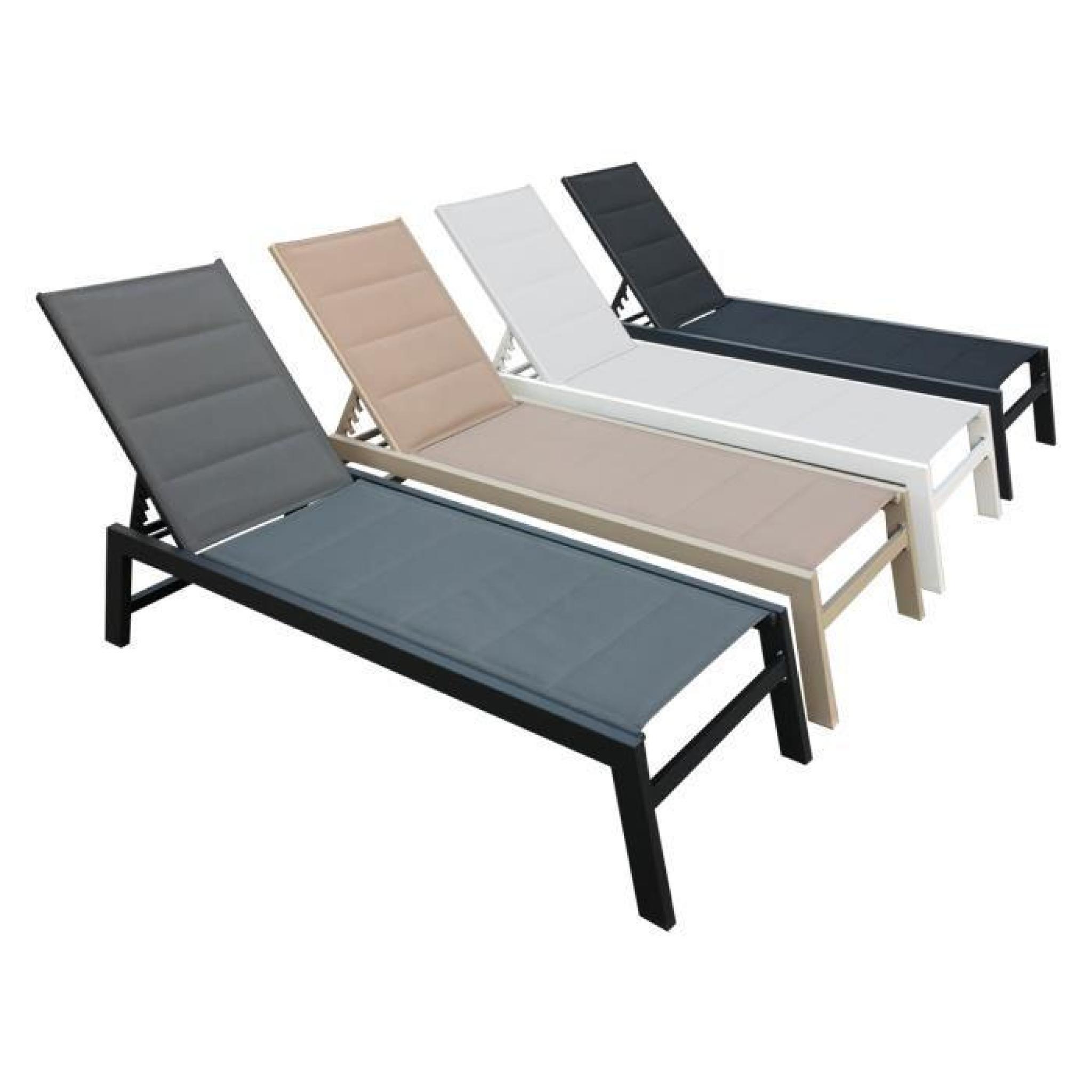 bain de soleil barbados en textil ne noir aluminium noire achat vente salon de jardin en. Black Bedroom Furniture Sets. Home Design Ideas