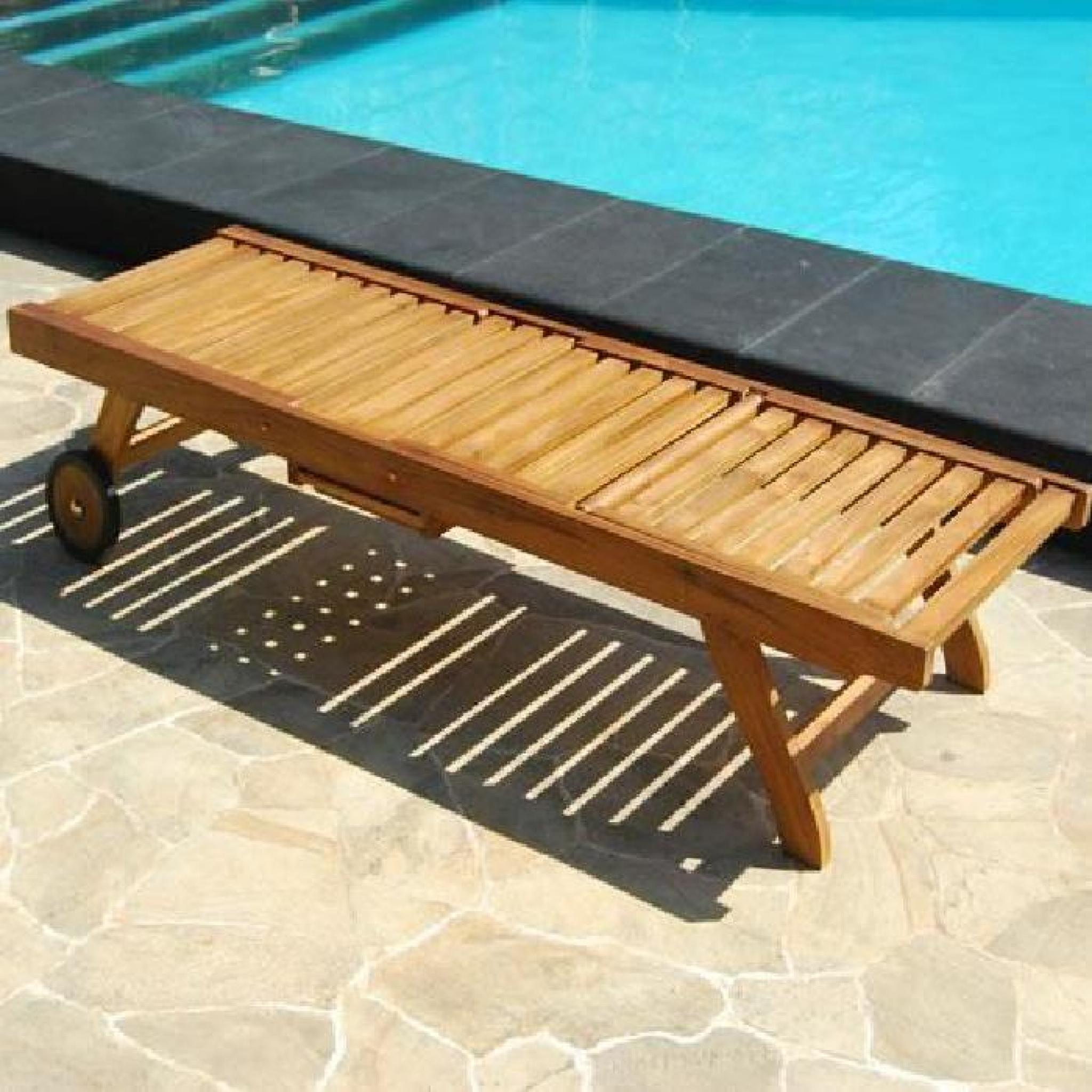 bain de soleil chaise longue en teck huil achat vente. Black Bedroom Furniture Sets. Home Design Ideas