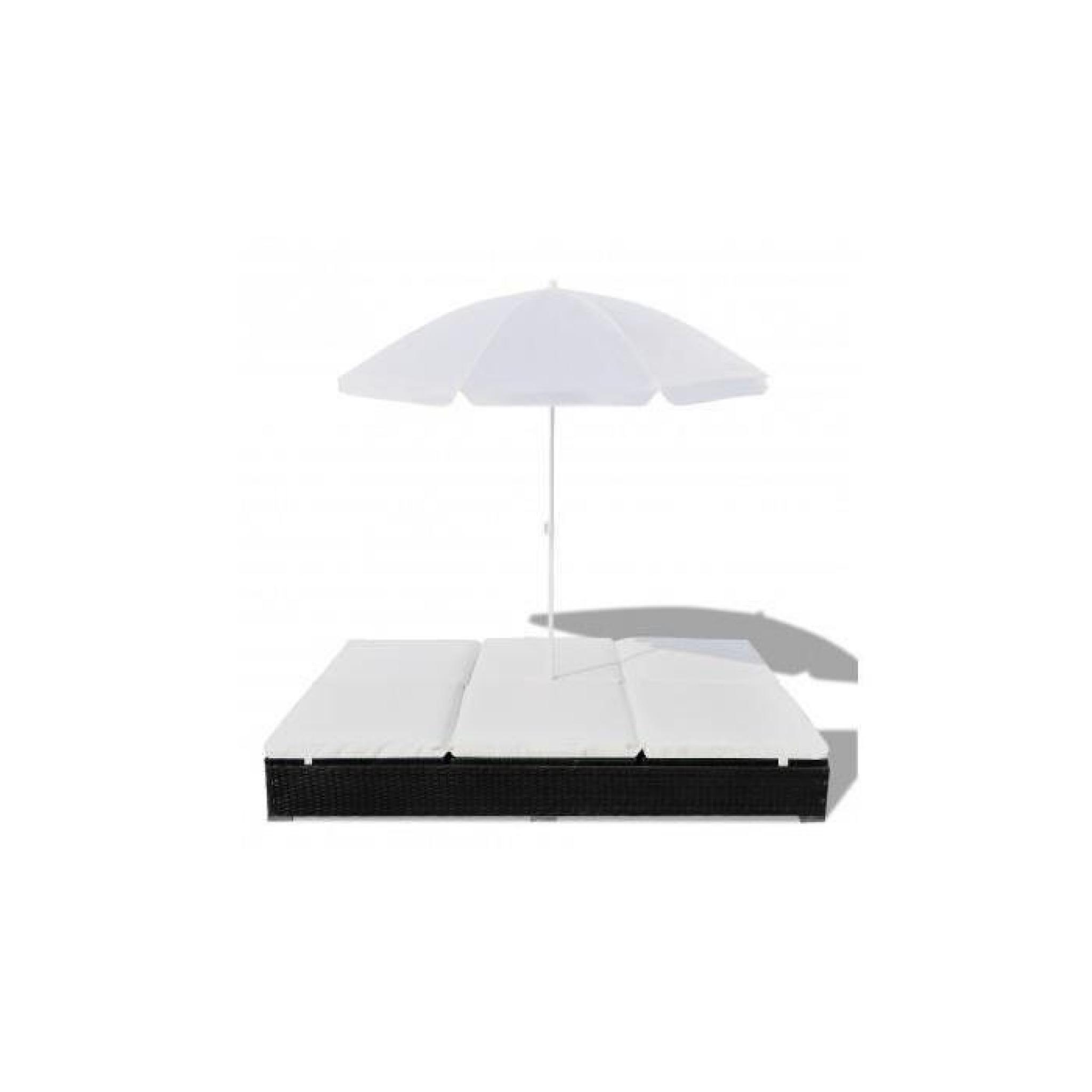 bain de soleil double en rotin avec parasol noir - achat/vente