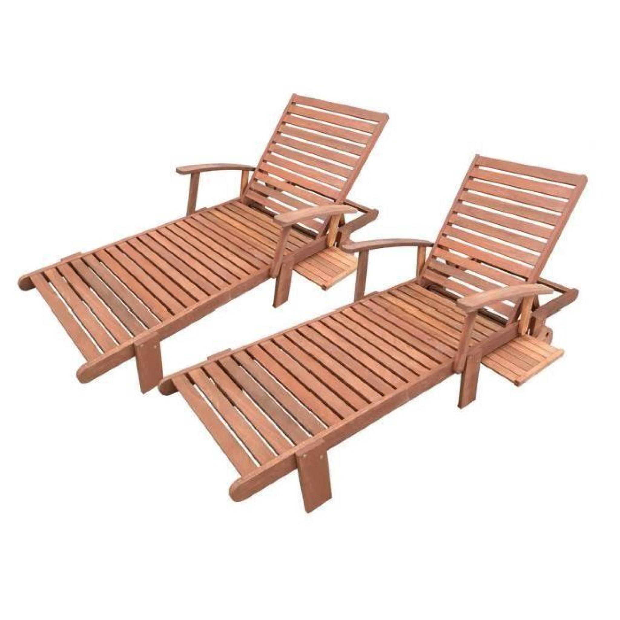 bain de soleil pliant en bois exotique tokyo maple marron clair lot de 2 - Transat Bois Pas Cher