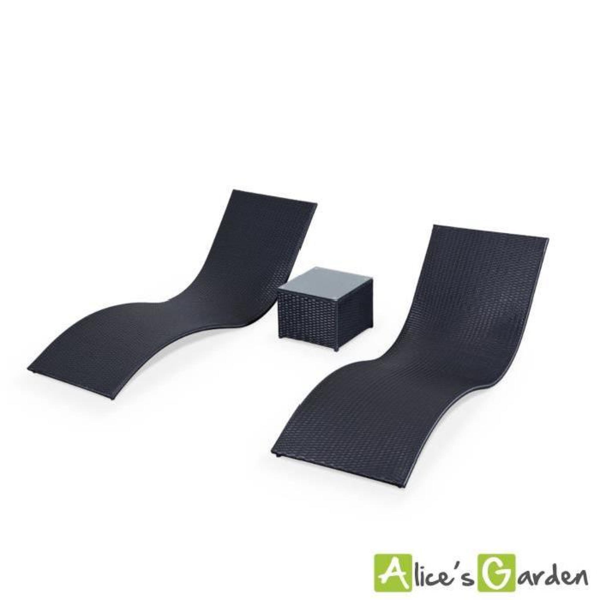 Duo de transat en r sine tress e roma achat vente chaise Chaise longue en resine tressee pas cher
