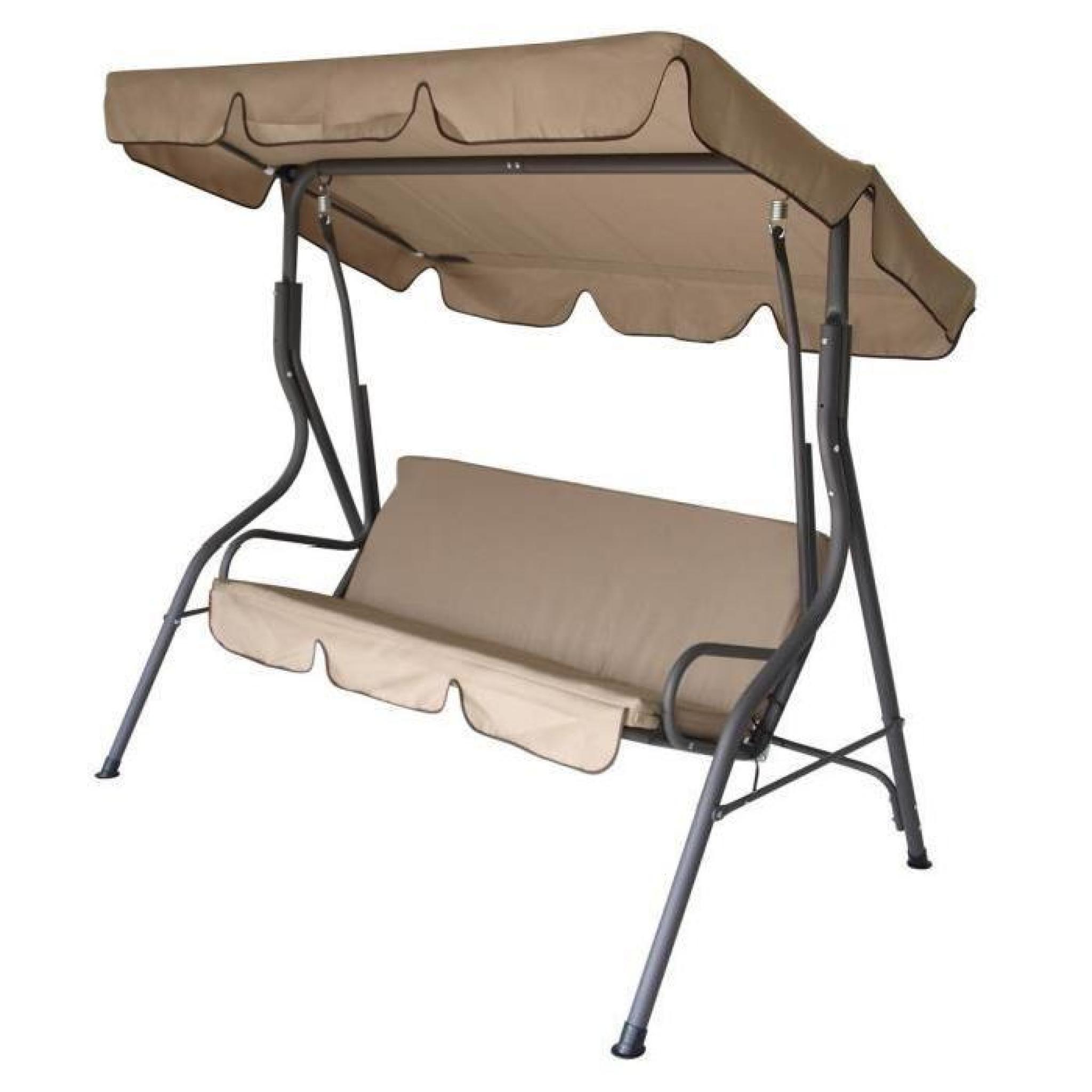 Balancelle 3 places cr me grise toile r sistant l 39 eau - Toile de toit pour balancelle de jardin ...