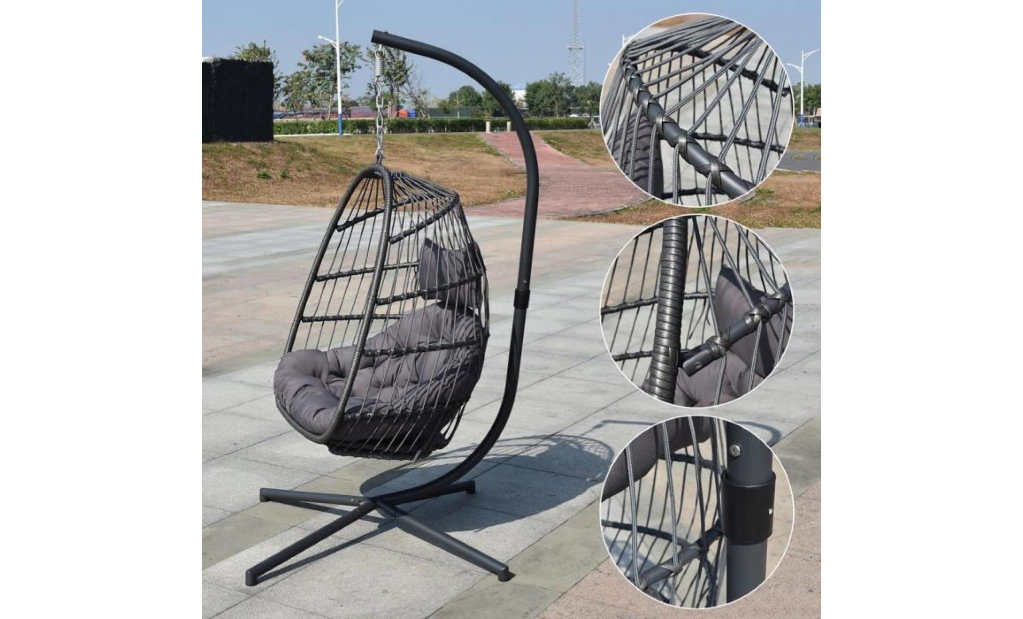 balancelle de jardin en r sine tress e sur pied hamac. Black Bedroom Furniture Sets. Home Design Ideas