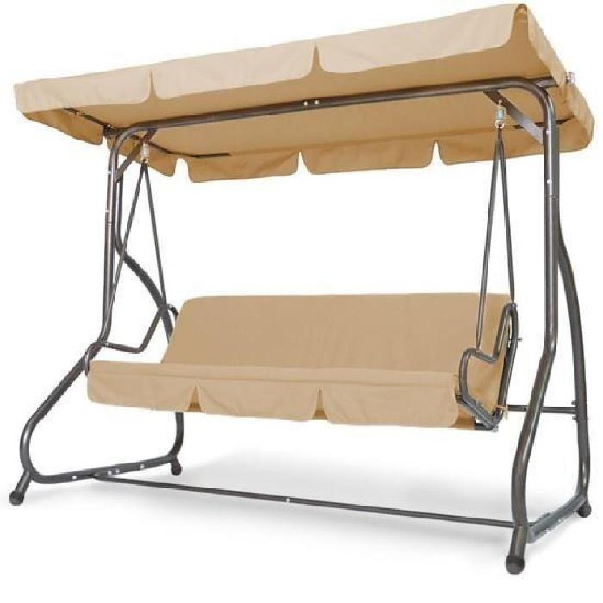 balancelle en acier avec toile cappuccino 218 cm achat vente balancelle de jardin pas cher. Black Bedroom Furniture Sets. Home Design Ideas