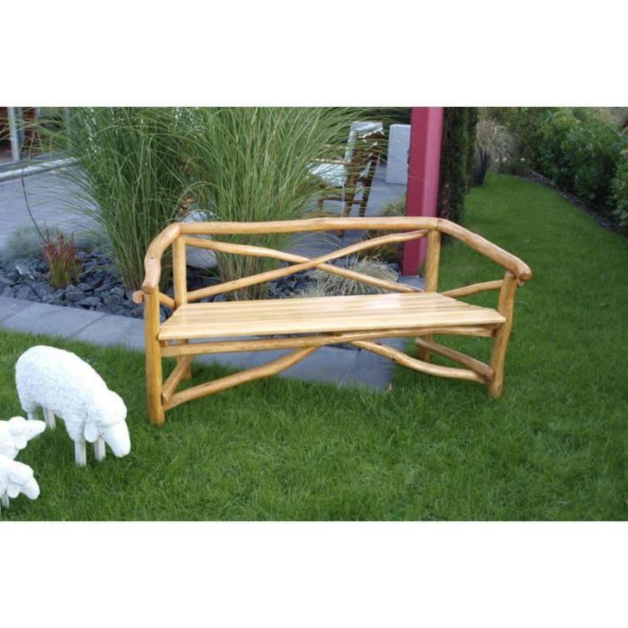 banc banquette 3 places salon de jardin bois ch ne clair. Black Bedroom Furniture Sets. Home Design Ideas