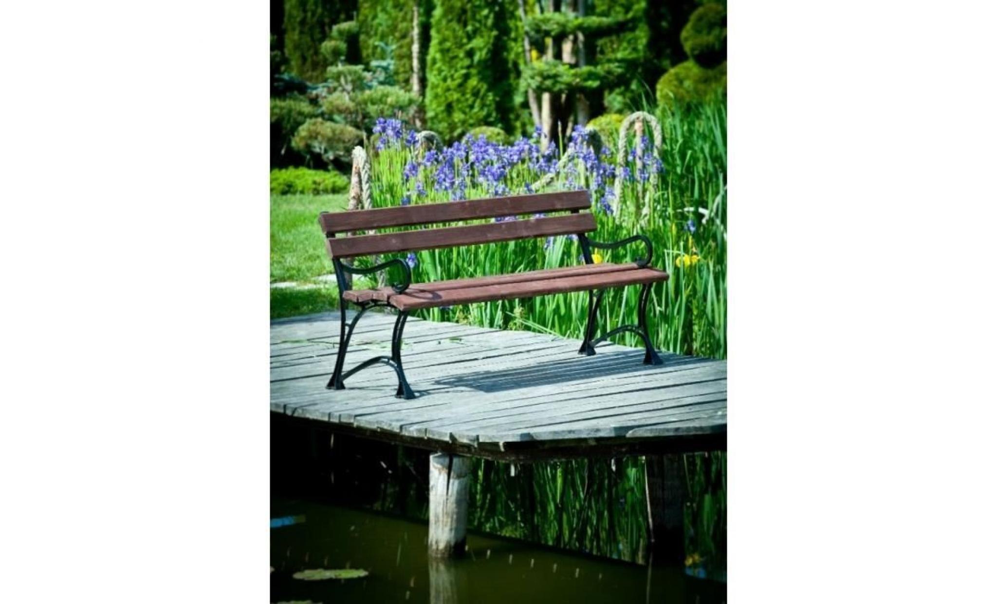 banc de jardin en bois couleur noyer et aluminium 180 cm achat vente banc de jardin en bois. Black Bedroom Furniture Sets. Home Design Ideas