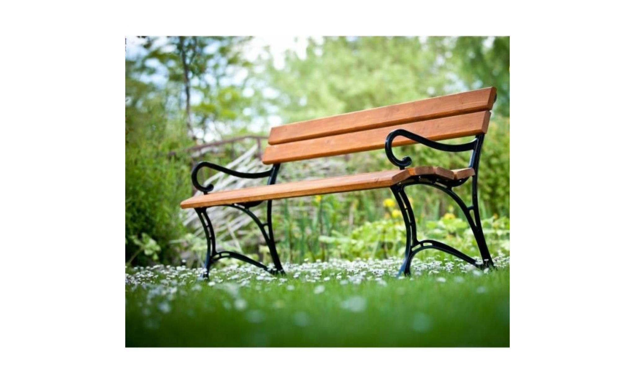 banc de jardin en bois couleur teck et aluminium 150cm avec accoudoirs achat vente banc de. Black Bedroom Furniture Sets. Home Design Ideas