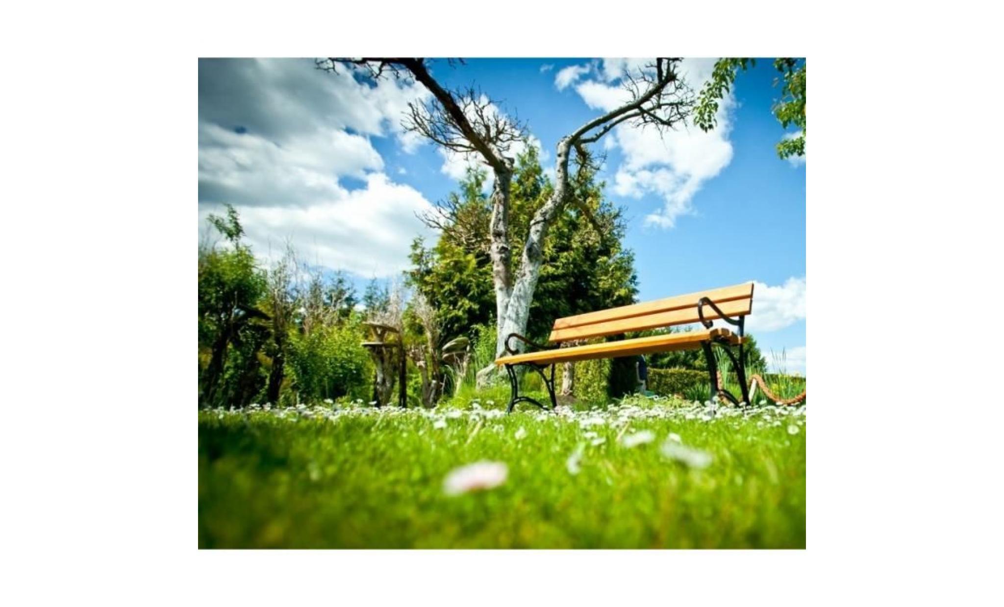 Banc de jardin en bois couleur teck et aluminium 150cm - Banc jardin pas cher ...