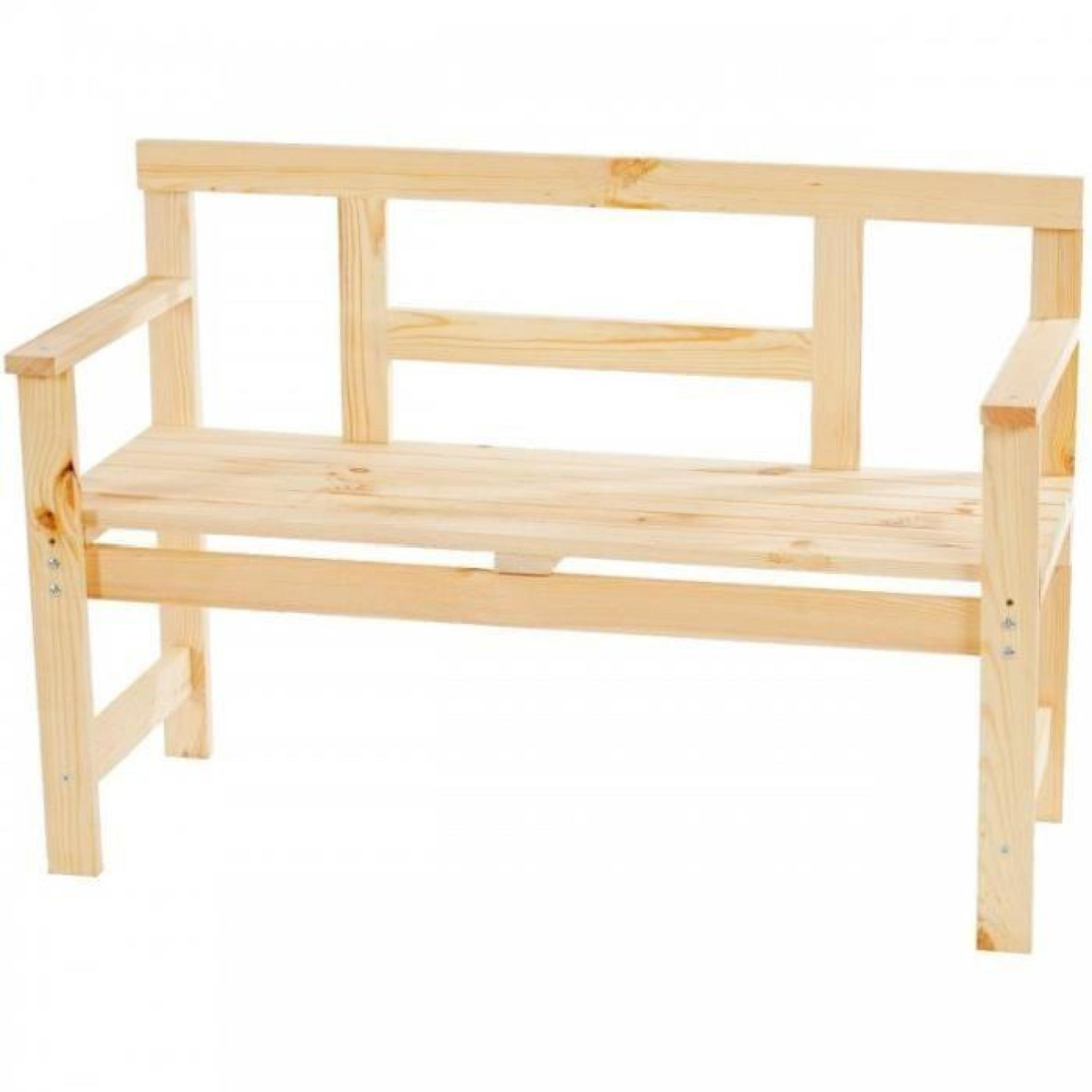 banc de jardin en bois naturel 114cm mdj04070 achat. Black Bedroom Furniture Sets. Home Design Ideas