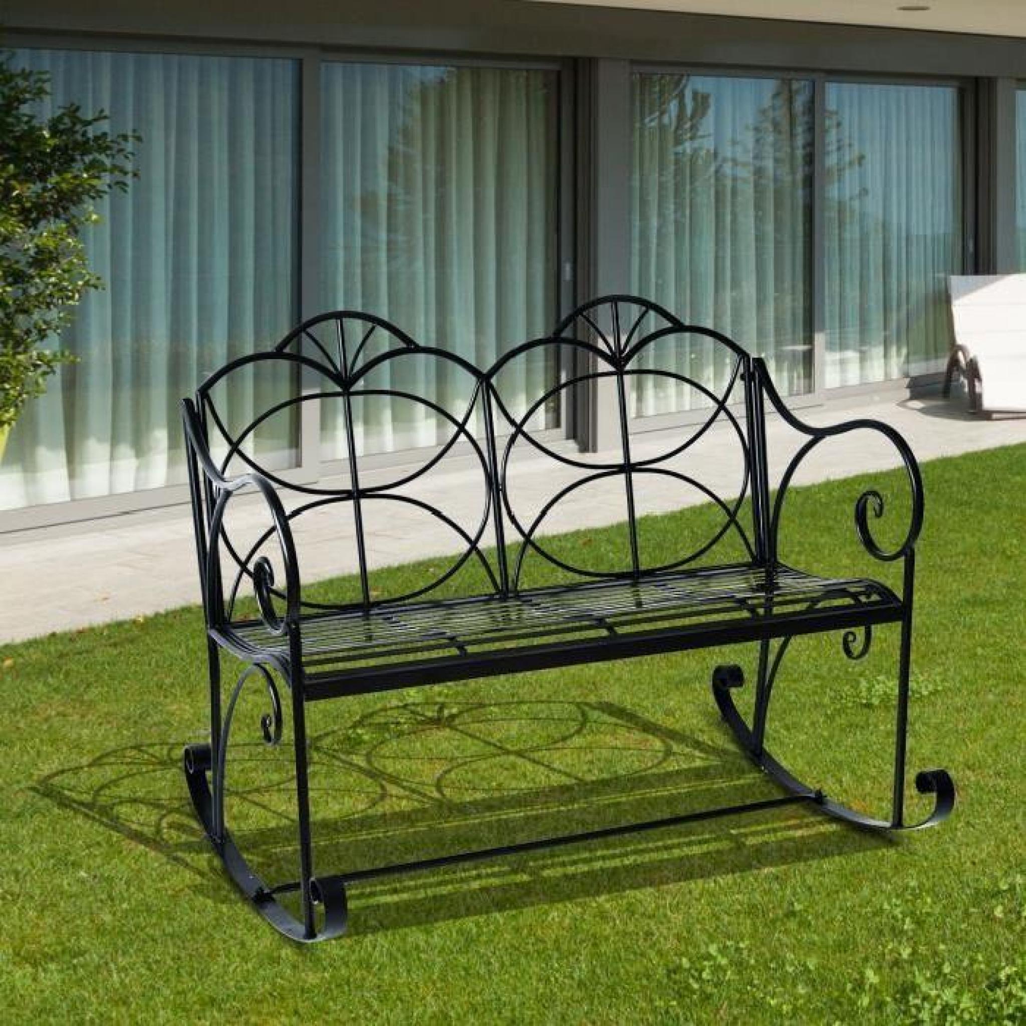 Banc de jardin en fer forgé style antique à bascule noir 2 places 114L x  76l x 92H cm charge max 200 Kg neuf 79
