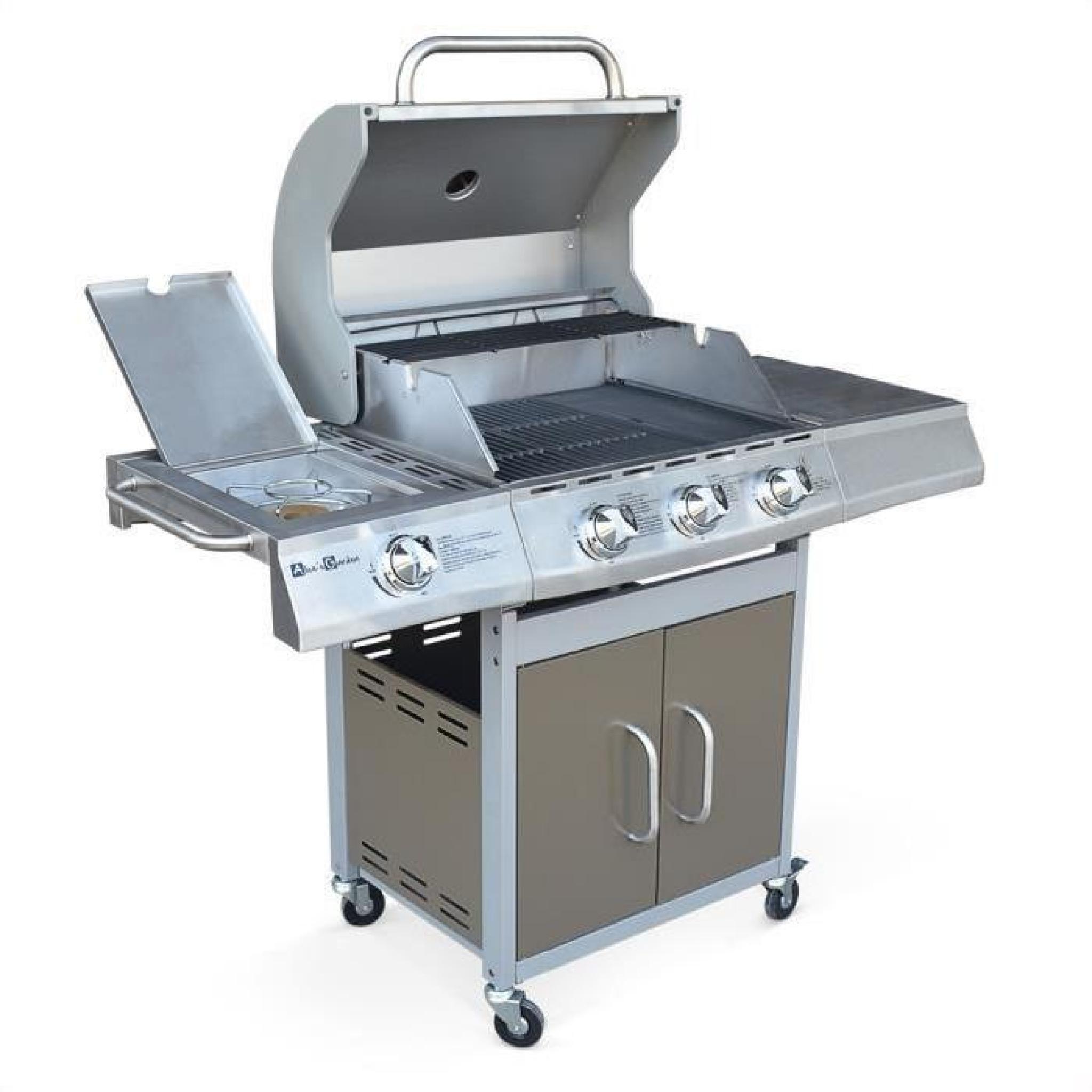 barbecue au gaz richelieu marron 4 br leurs dont 1 feu lat ral 14kw c t grill et plancha. Black Bedroom Furniture Sets. Home Design Ideas
