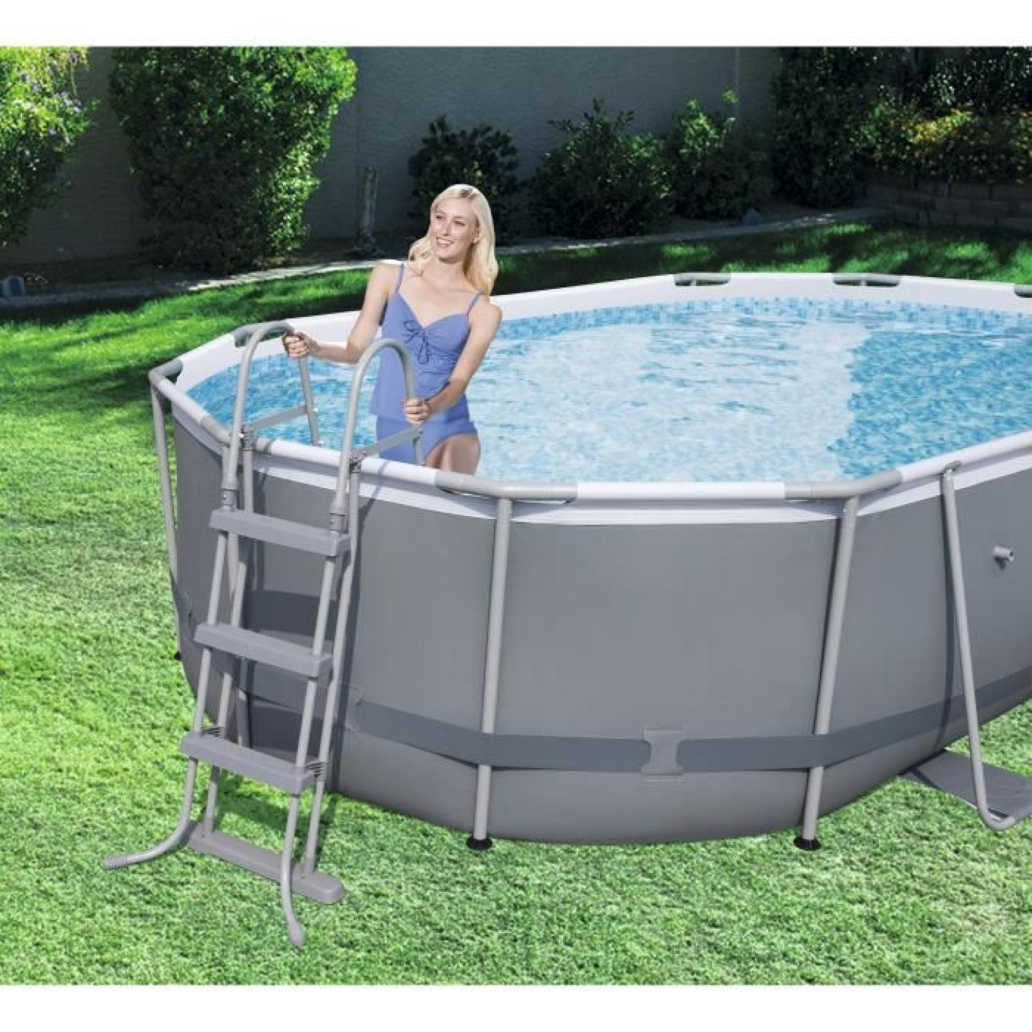 Bestway kit piscine power steel frame pools ovale for Bestway piscine