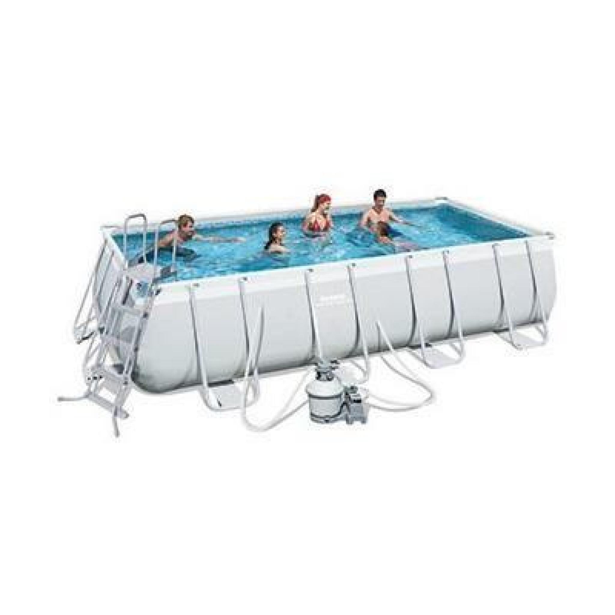 Bestway kit piscine rectangulaire power steel frame pool for Best way piscine