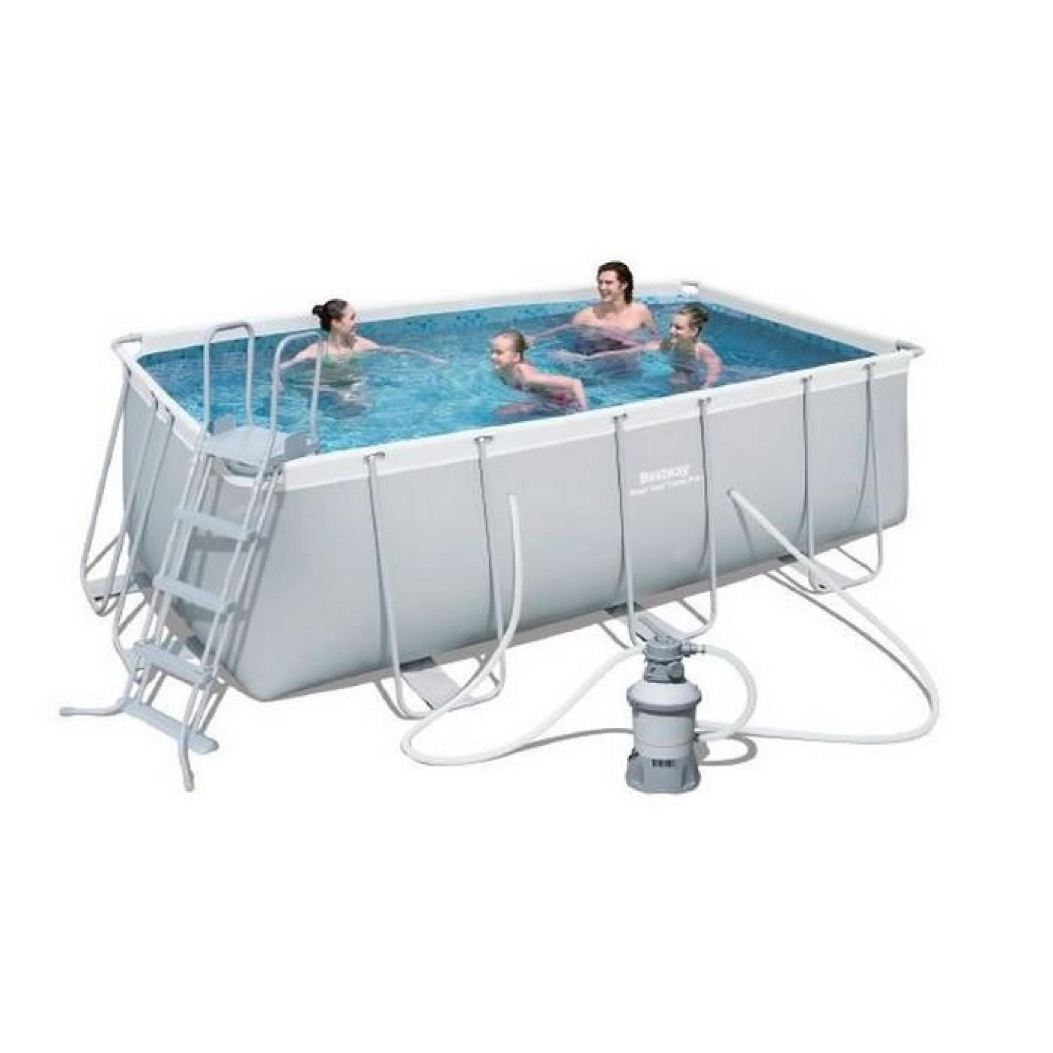 Bestway piscine tubulaire rectangulaire for Piscine tubulaire 1 22