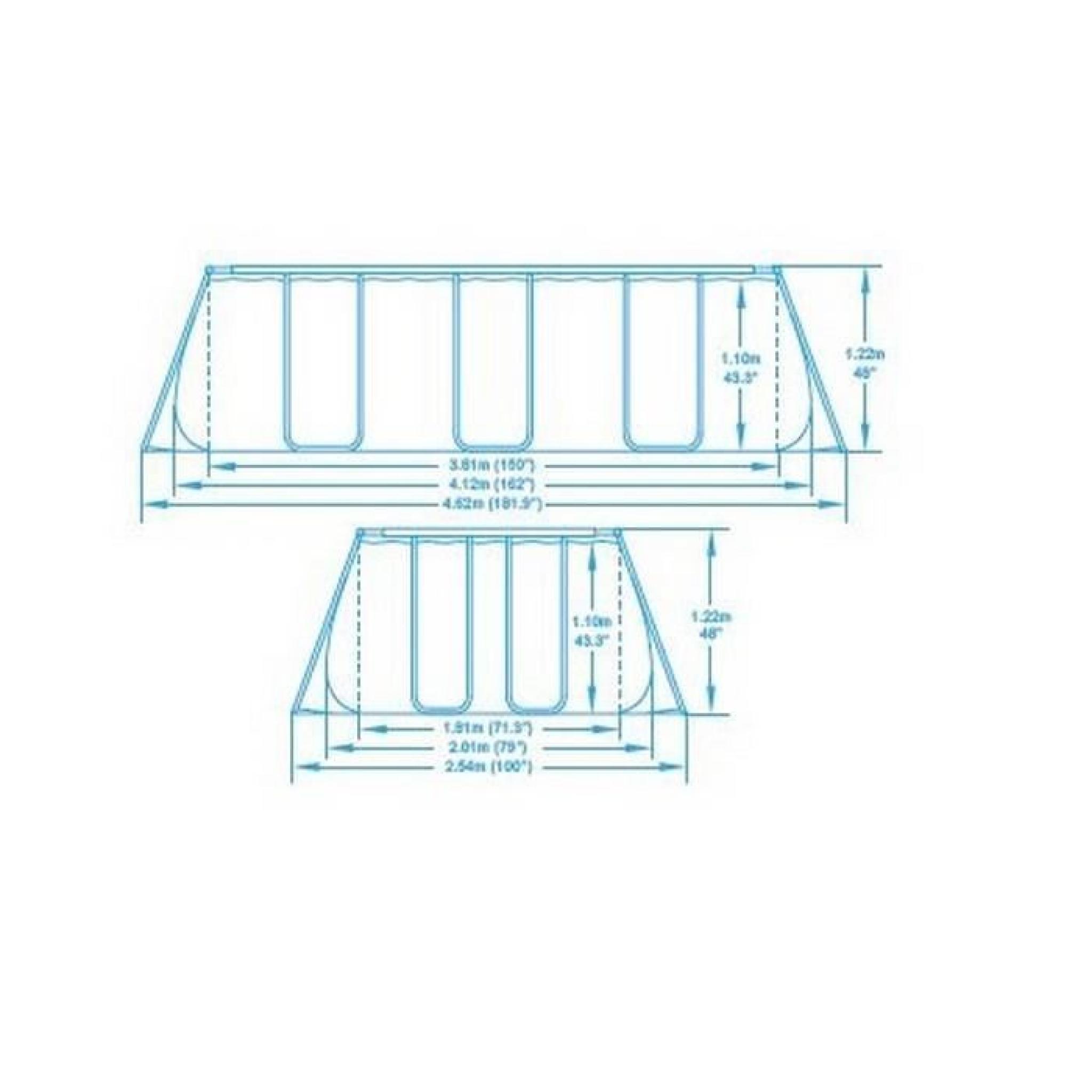 Bestway piscine tubulaire rectangulaire filtration cartouche achat vente for Piscine tubulaire rectangulaire pas chere