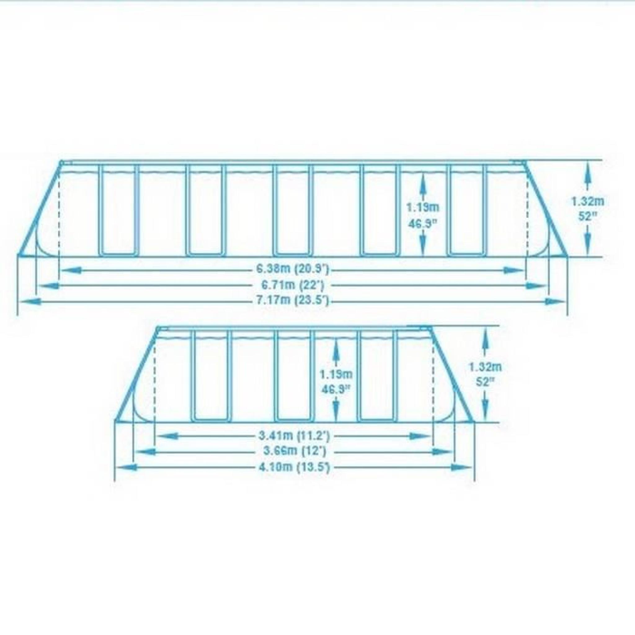 BESTWAY Piscine Tubulaire Rectangulaire 6.71x3.66x1.32 M Filtre à Sable Pas  Cher