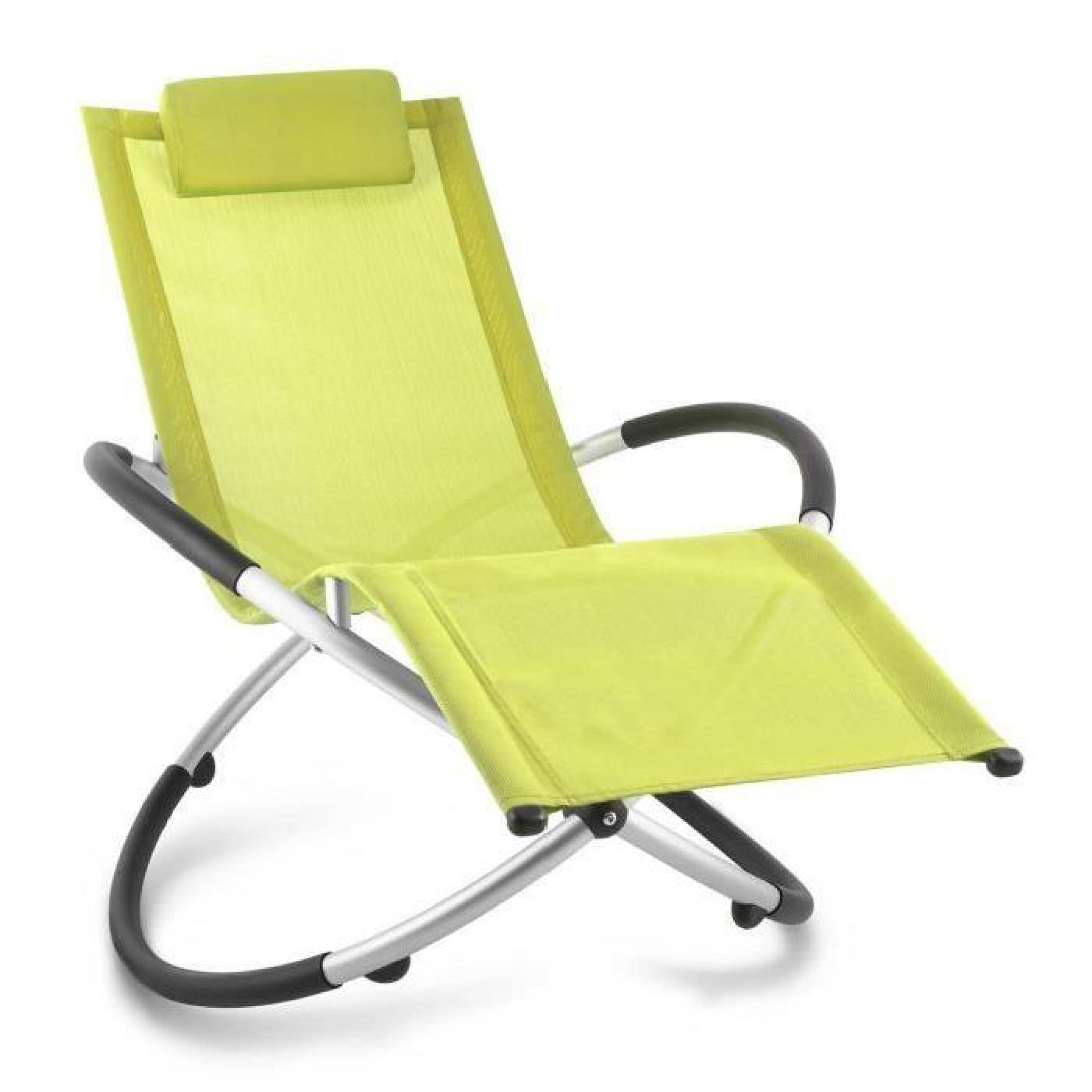 Blumfeldt Chilly Billy - Chaise longue de jardin avec accoudoirs, transat  avec cadre en aluminium et effet bascule