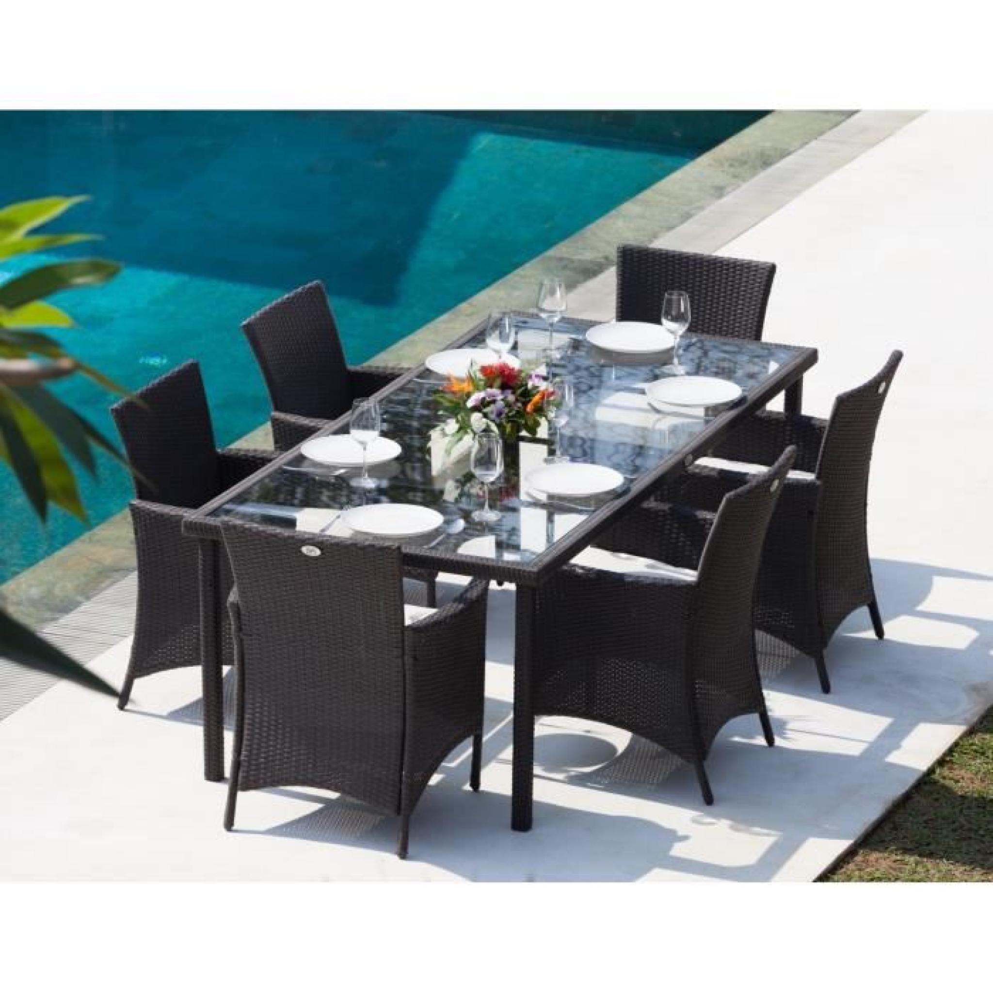 BORA Ensemble table de jardin 6 places en résine tressée et aluminium -  Gris anthracite
