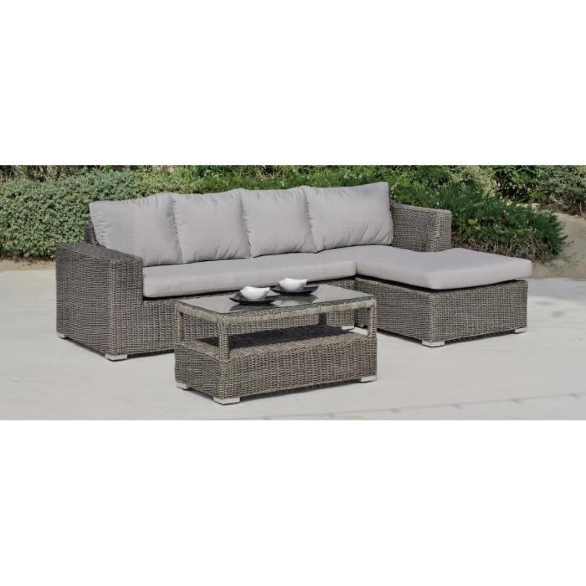 Canapé jardin et table basse gris Toscana
