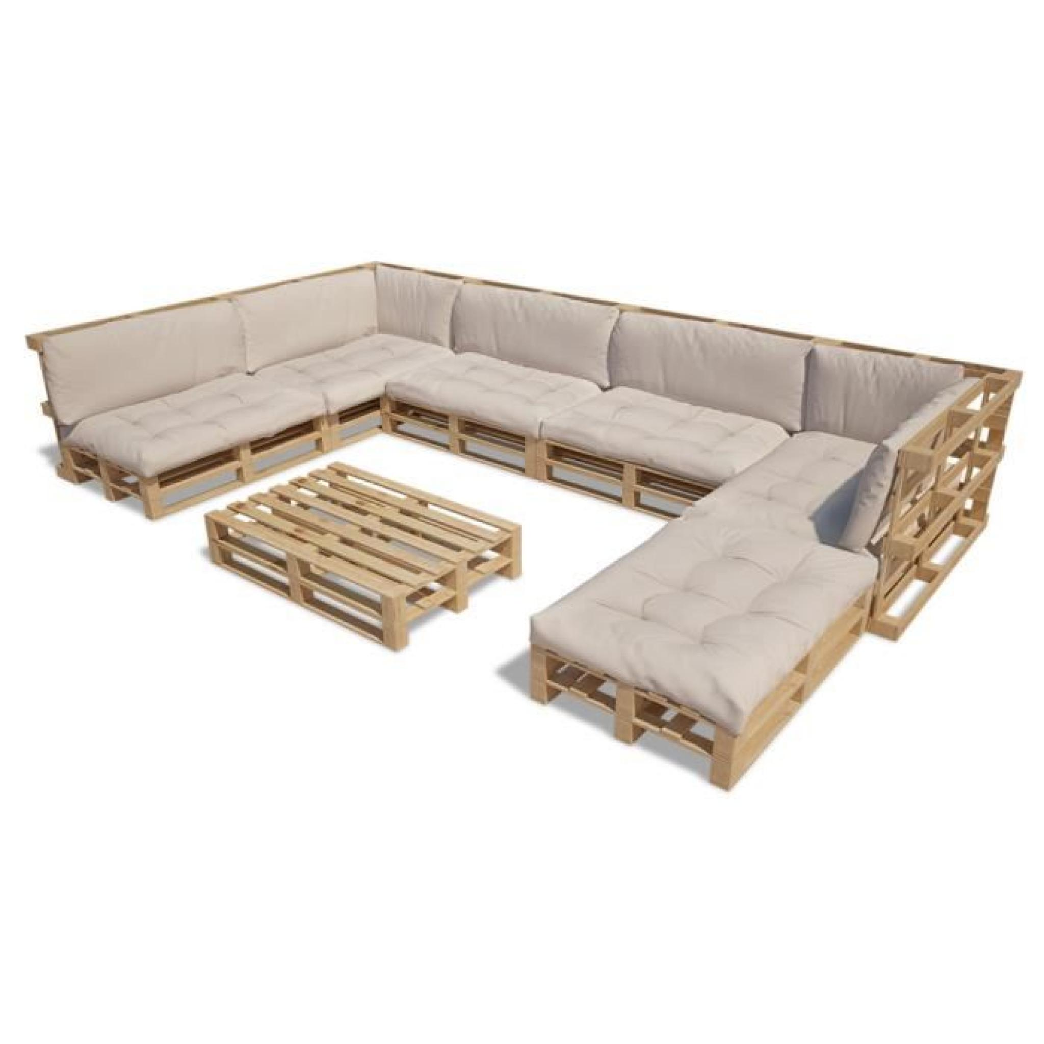 Cet ensemble salon en palette de bois avec coussins épais combine style et  fonctionnalité. Il sera le point focal de votre jardin...