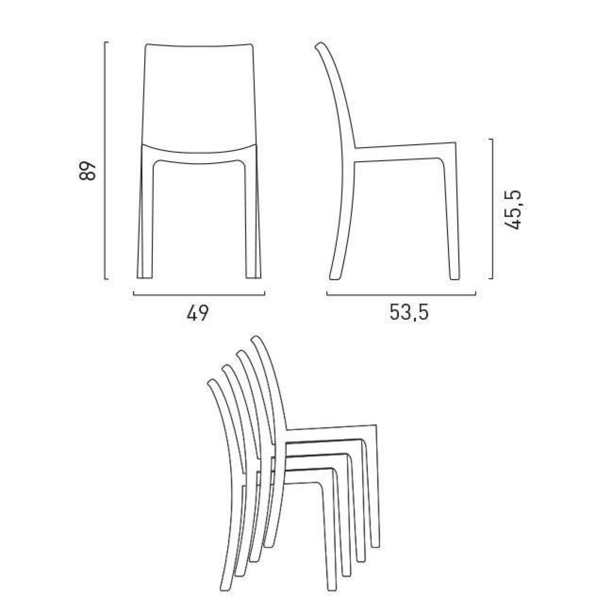 chaise blanc en poly rotin plastique empilable caf. Black Bedroom Furniture Sets. Home Design Ideas