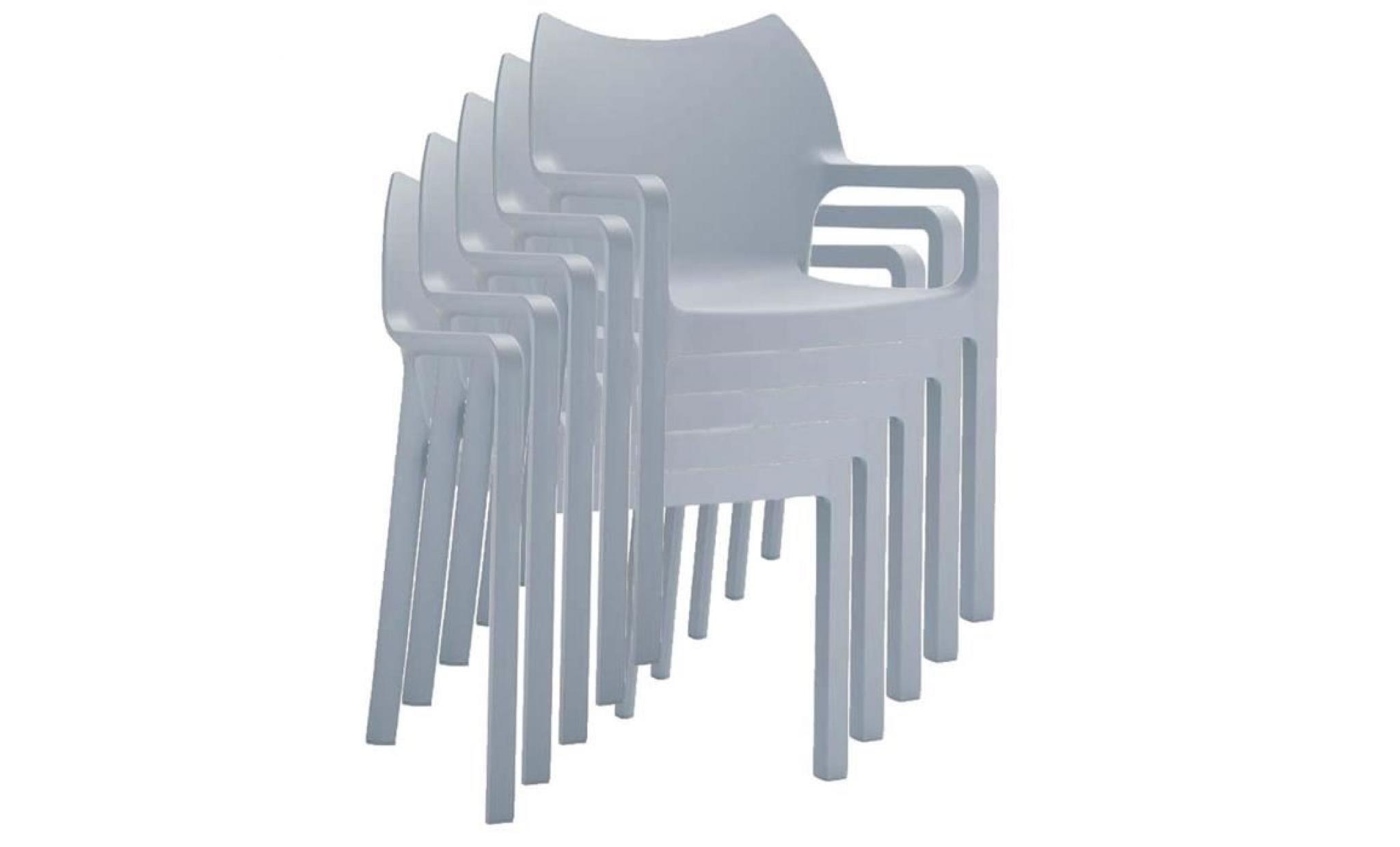 Chaise De Jardin Empilable En Plastique Gris Cl