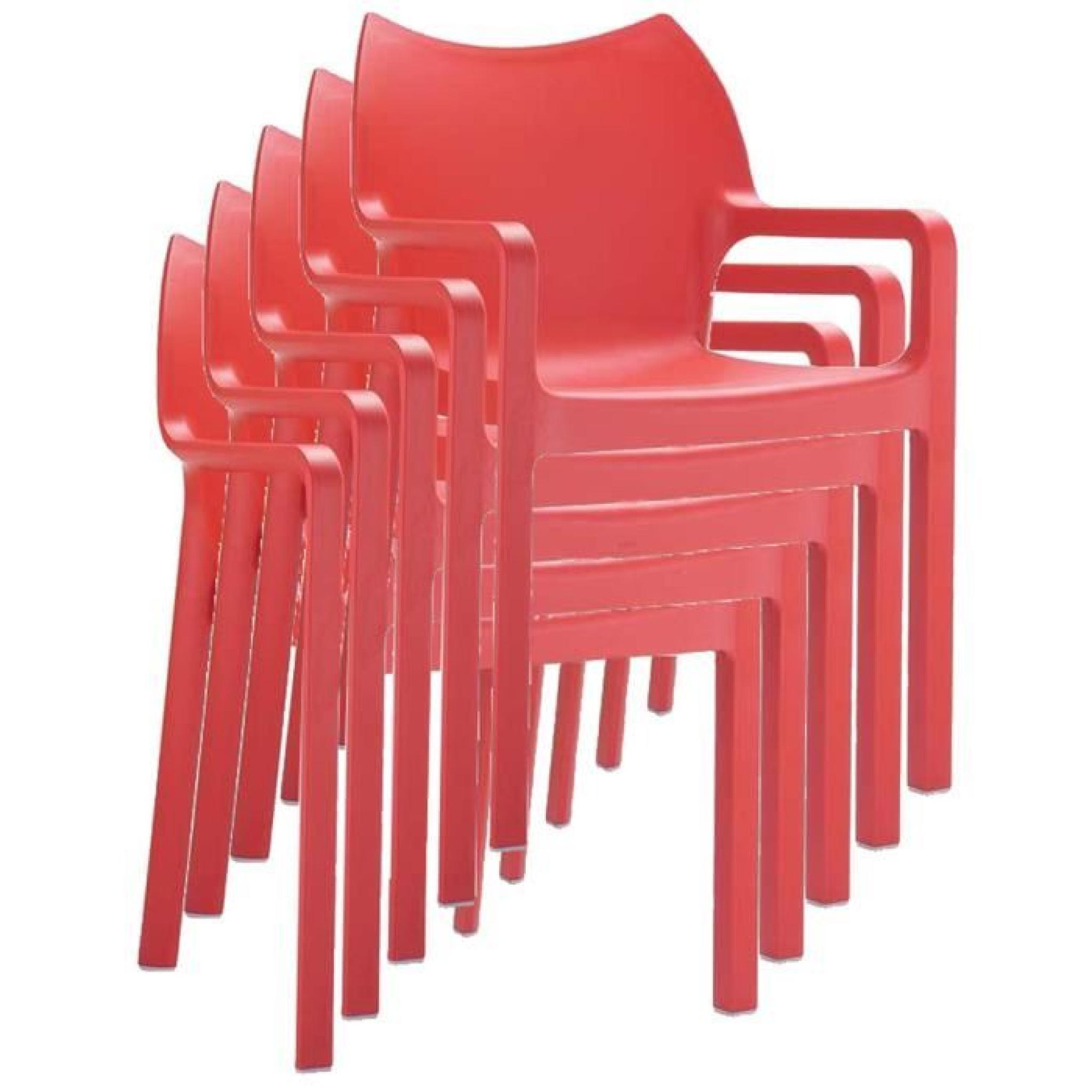 Chaise de jardin empilable en plastique, rouge