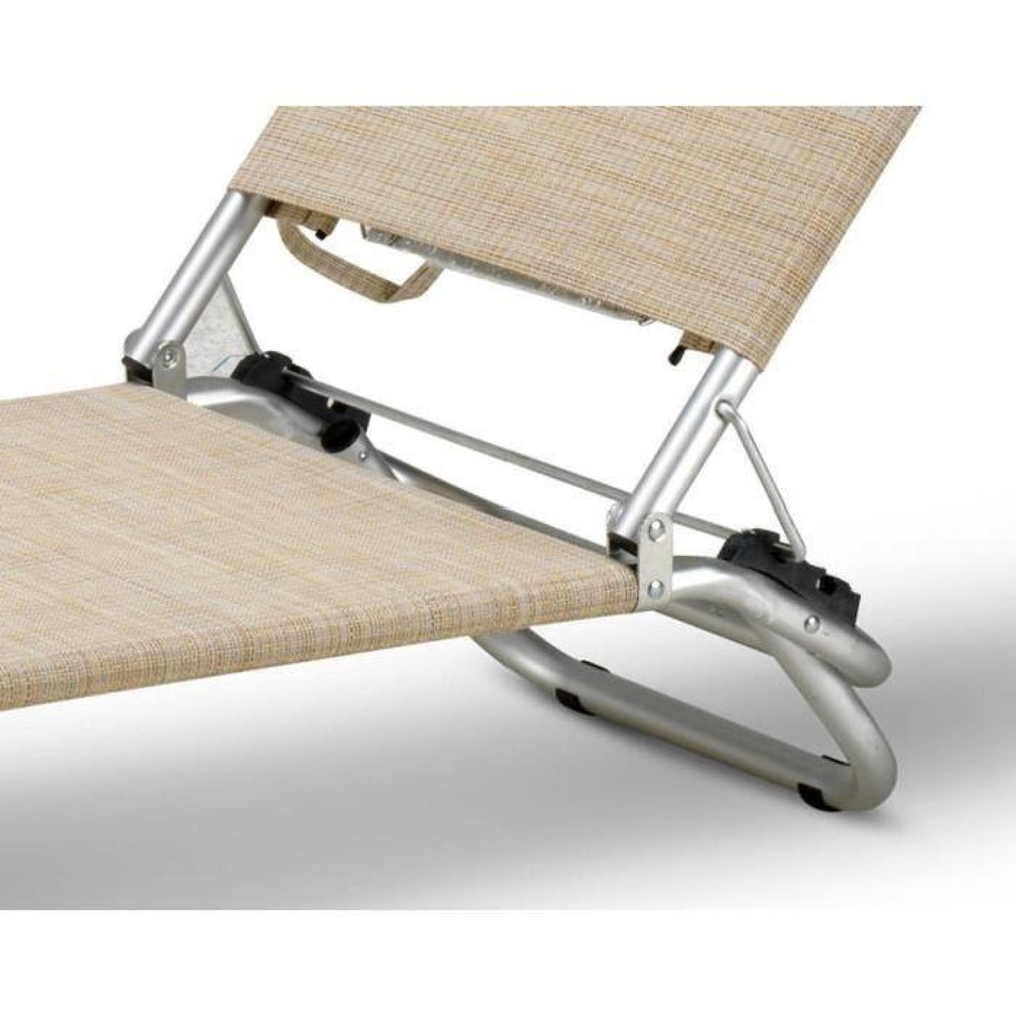 Chaise de plage transat pliante fauteuil piscine aluminium for Chaise longue piscine pas cher