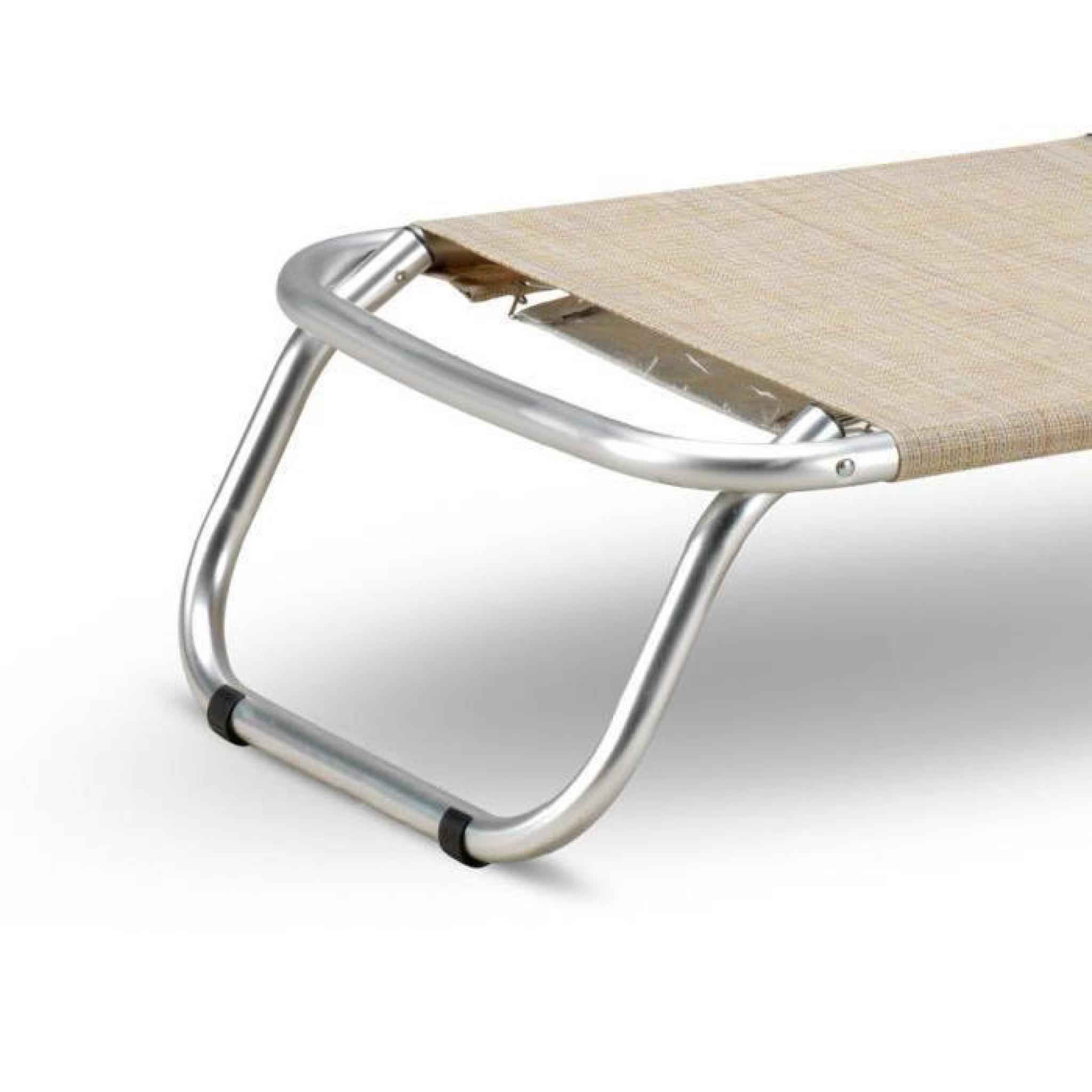 Pliante Fauteuil Transat De Plage Piscine Aluminium Gargano Chaise 92DEHI