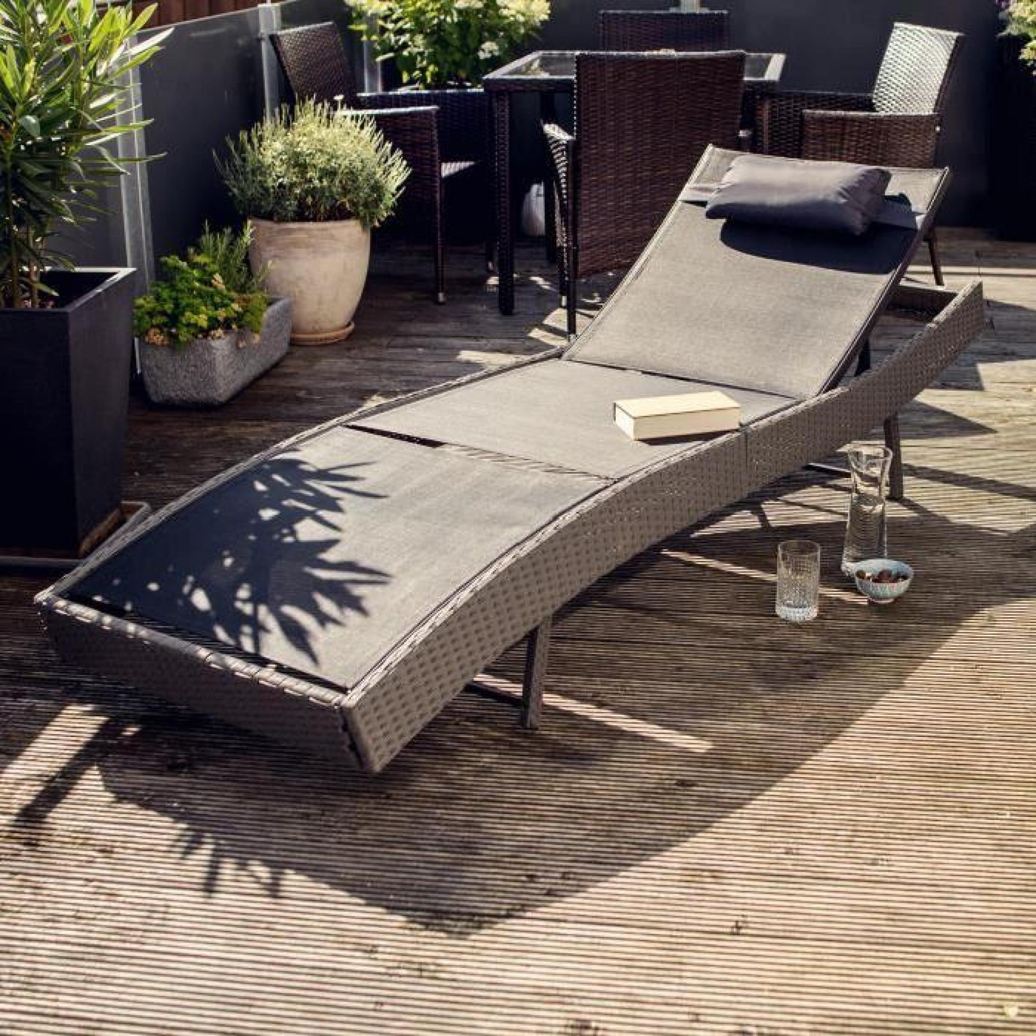 chaise longue wicker transat bain de soleil multi positions r sine tress e 1 place coussin. Black Bedroom Furniture Sets. Home Design Ideas