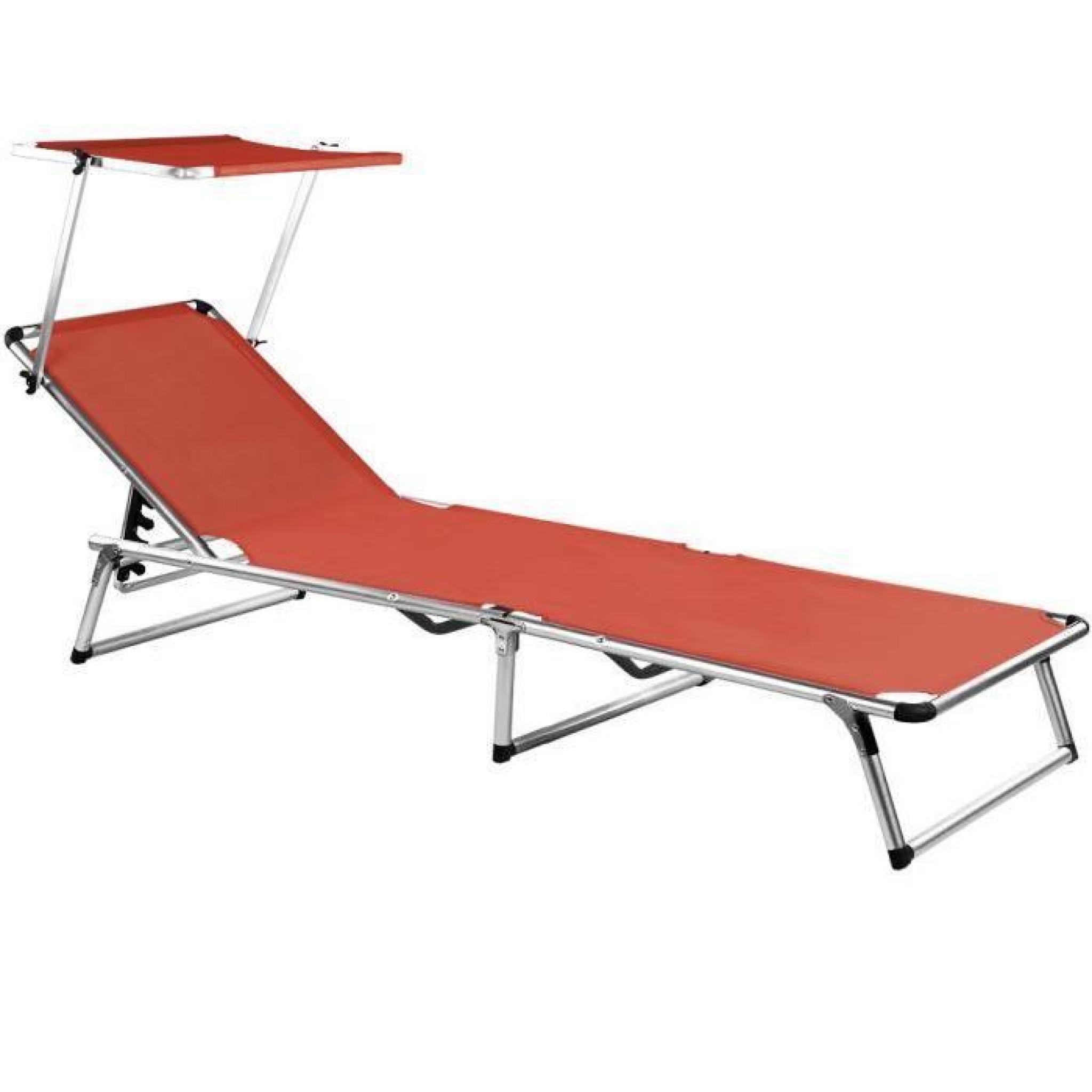 Chaise longue de jardin rouge pliante aluminium - Achat ...