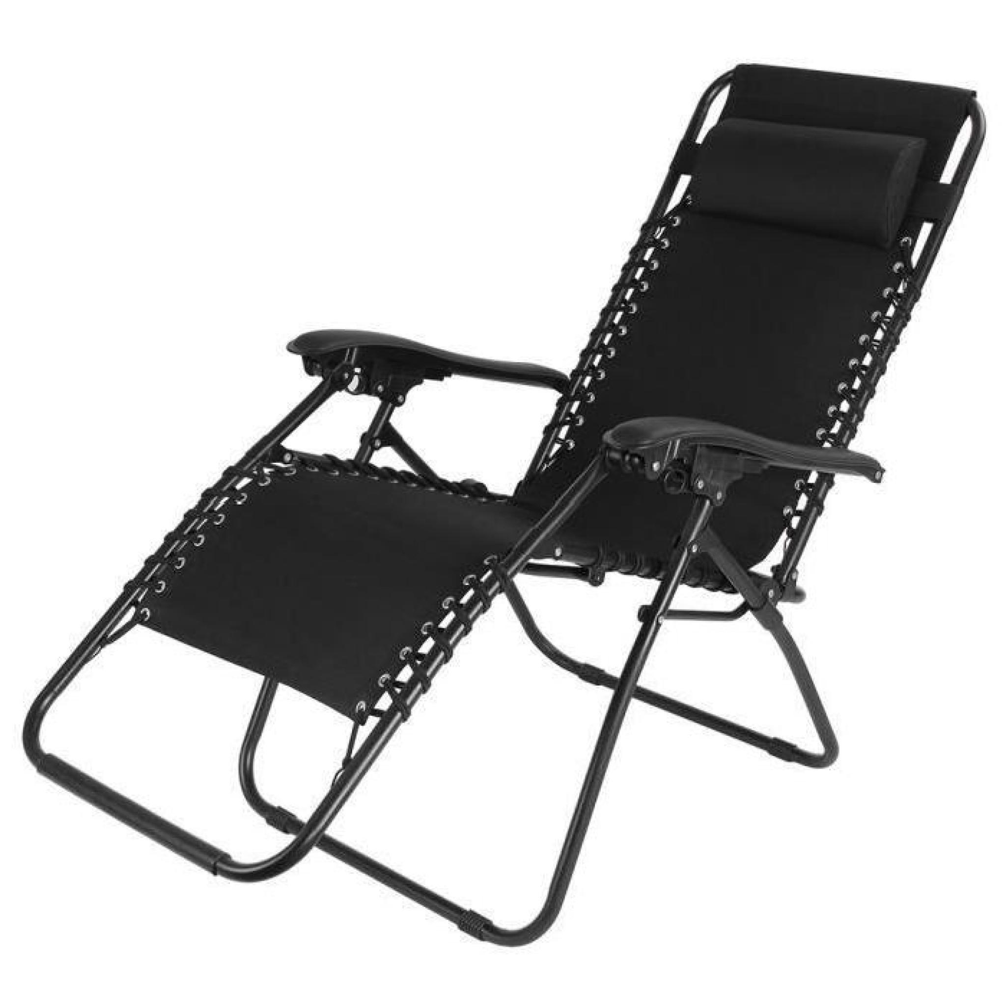 Chaise longue de jardin transat m tal et toile achat - Chaise longue de jardin pas cher ...