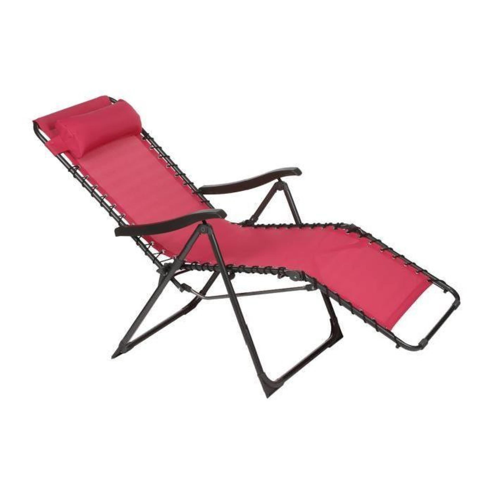 Chaise longue framboise en acier et texaline dim 93 x for Chaises longues de jardin pas cher