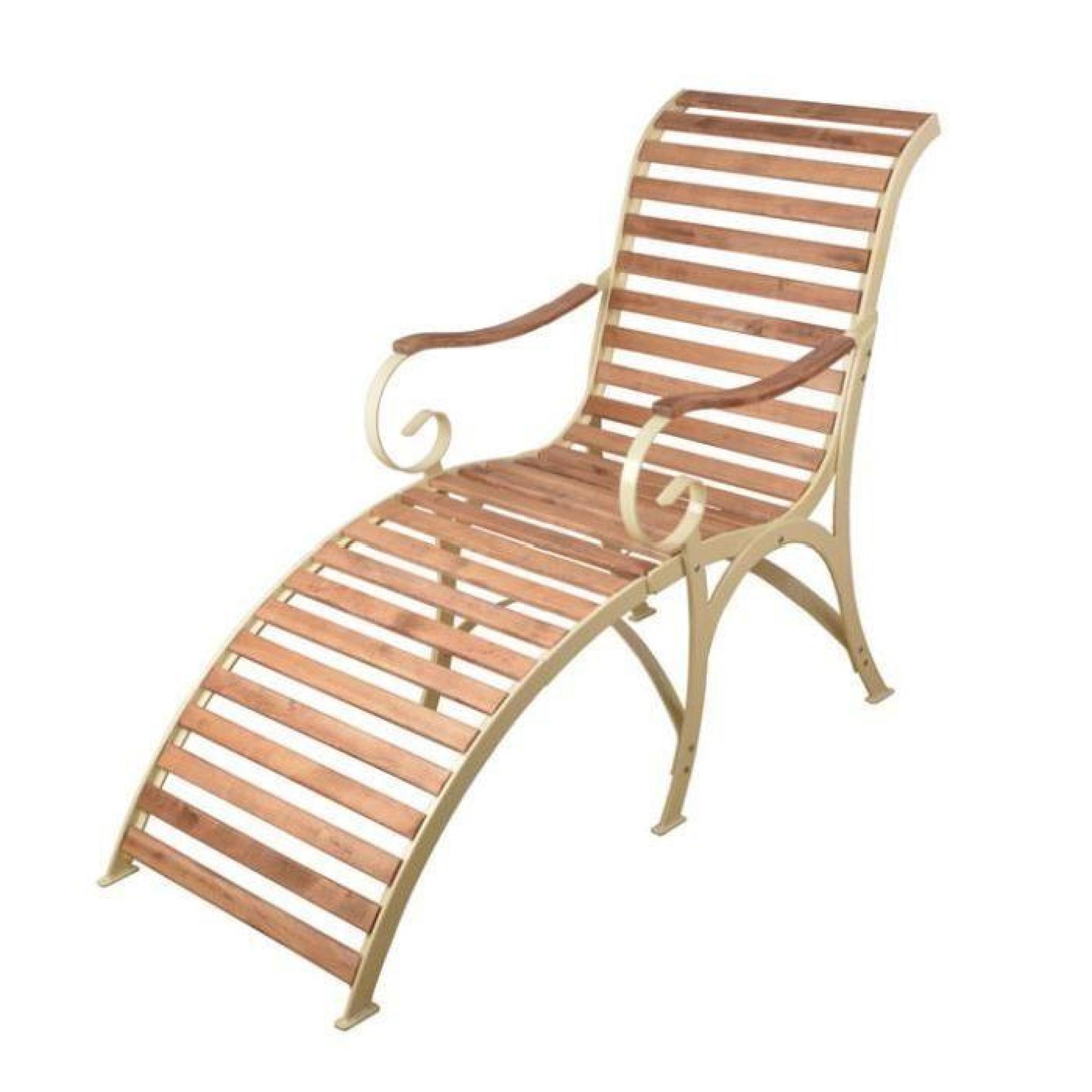 Chaise longue m tal cr me cr me bois achat vente - Chaise longue de jardin pas cher ...